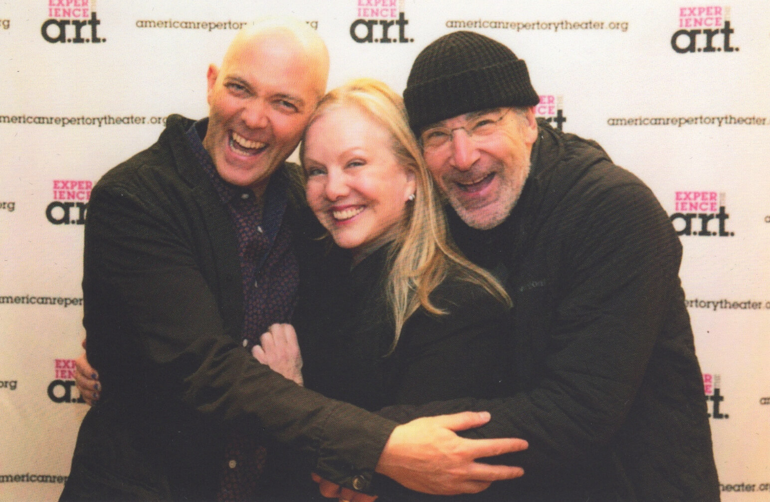 Taylor Mac, Susan Stroman, and Mandy Patinkin (all in black and hugging Stro in the middle) at the opening night of The Last TwoPeople on Earth:An Apocalyptic Vaudeville at A.R.T.
