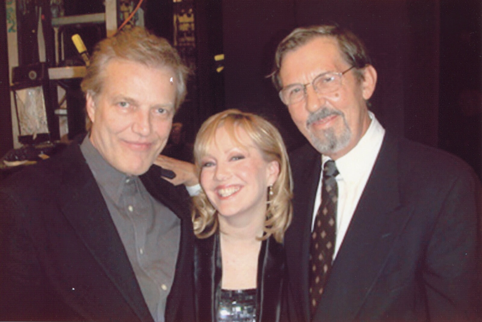 Peter Martins, Susan Stroman, and Robin Wagner (all in dark suits) and the opening night of Double Feature for the New York City Ballet.