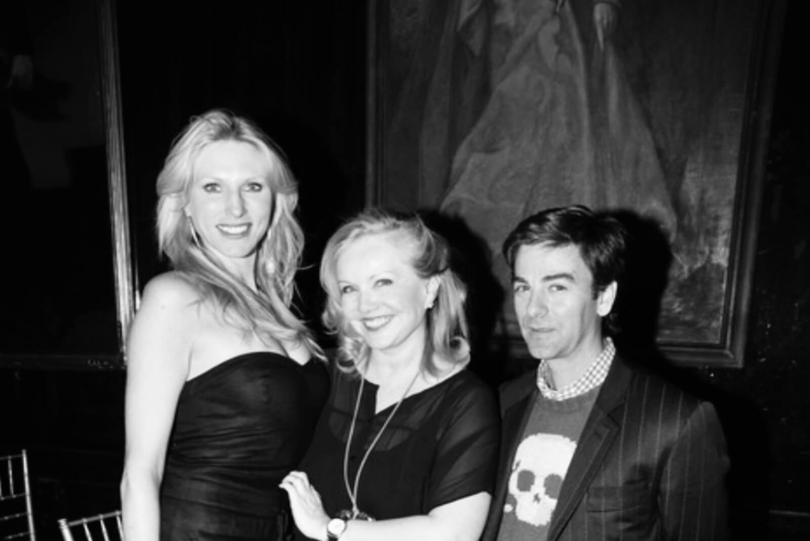 Black and white photo of Susan Stroman with Katherine Crockett and Tom Gold at the opening night of But Not for Me for the Martha Graham Company.