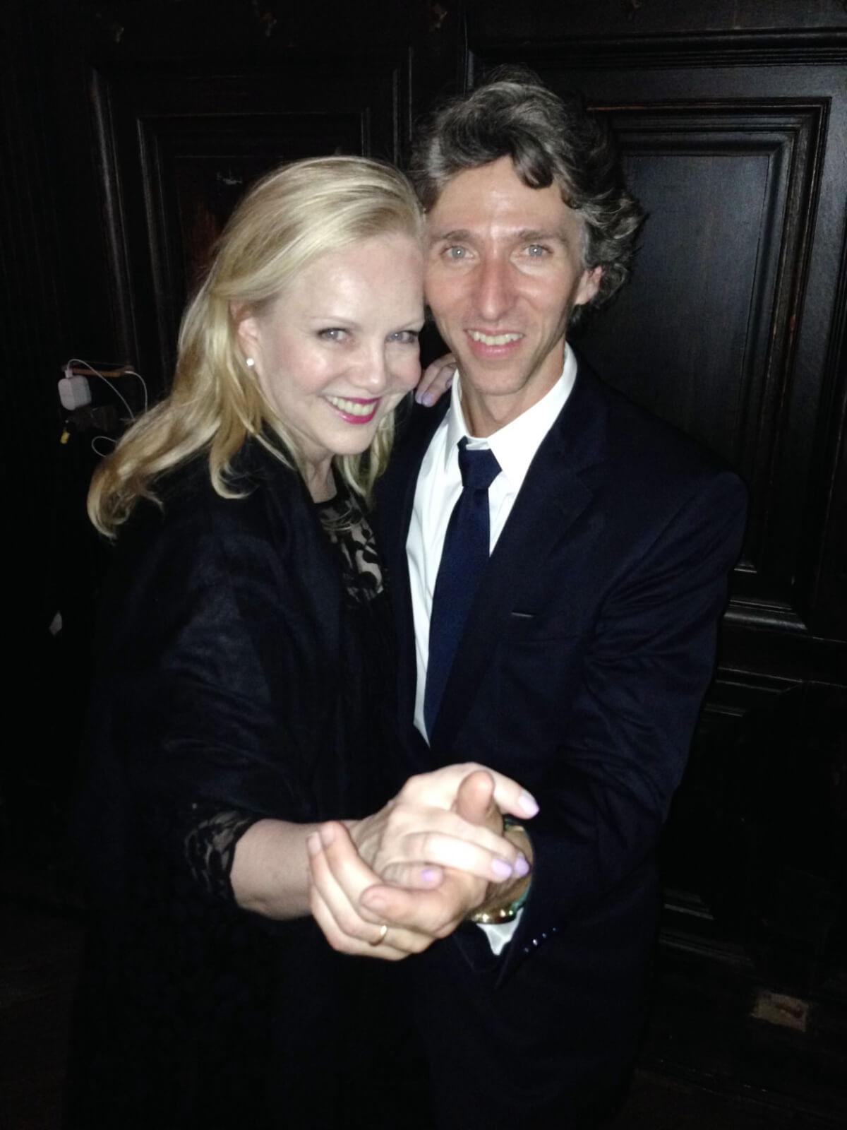 Susan Stroman posing in a partnering dance position with Damian Woetzel, president of The Juilliard School.