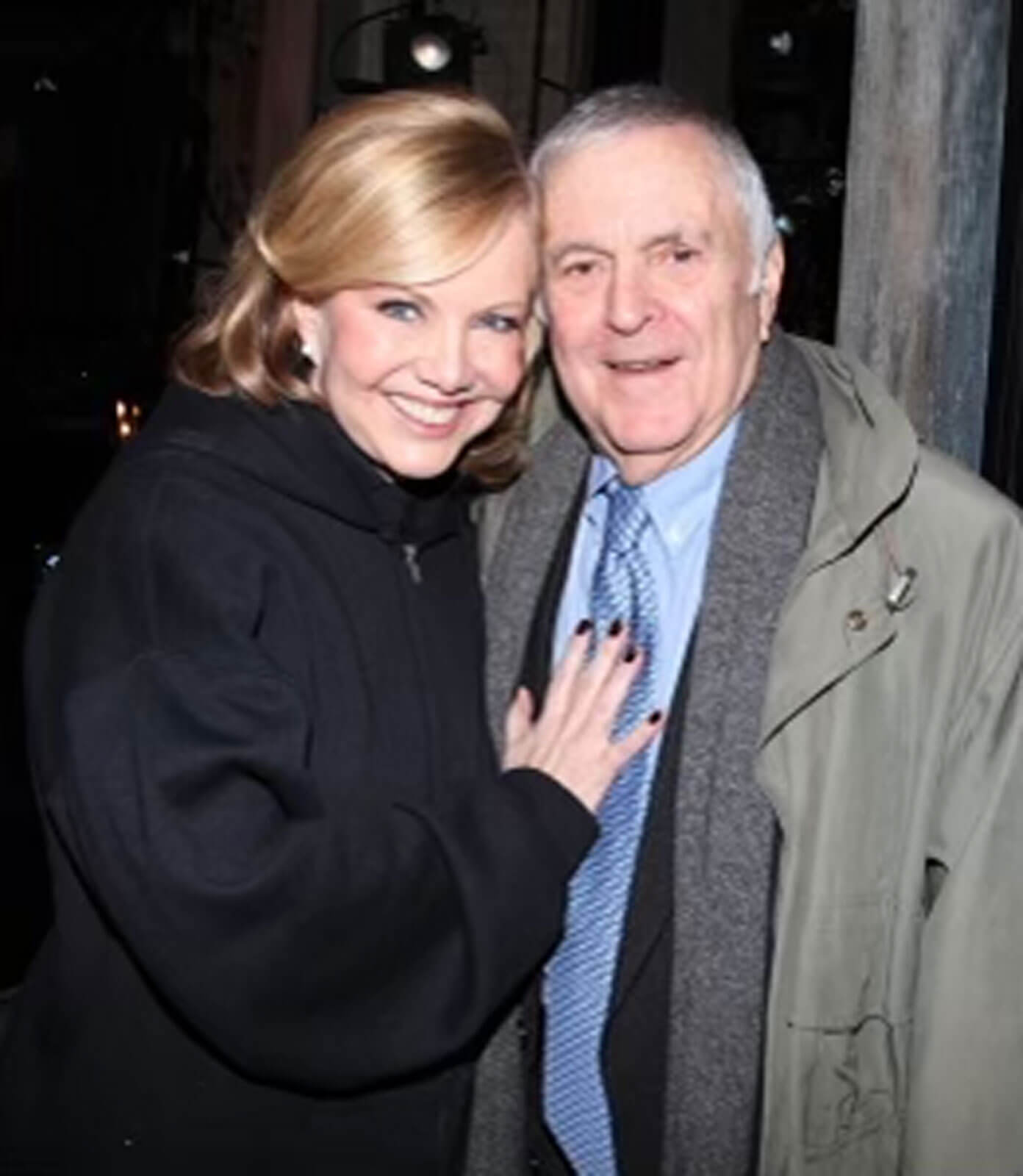 Susan Stroman with long-time collaborator, John Kander. Both are dressed in winter coats.