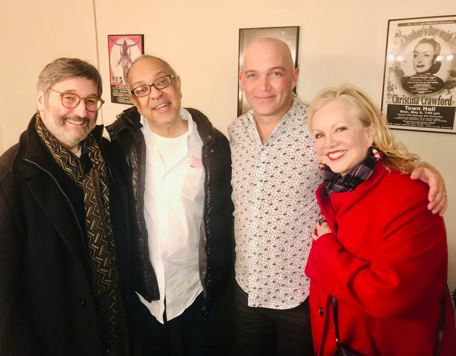 Santo Loquasto, George C. Wolfe, Taylor Mac, and Susan Stroman backstage.