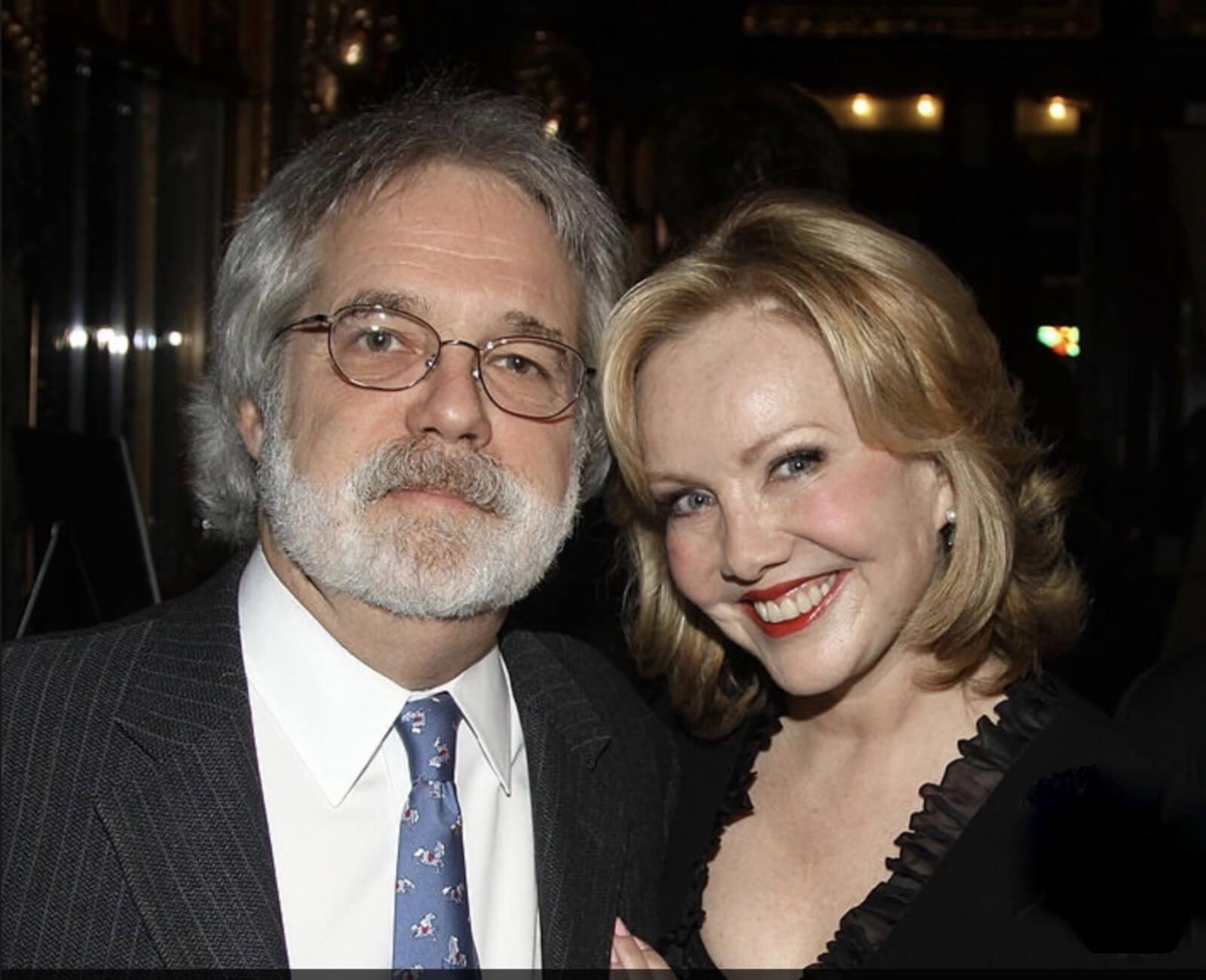 Susan Stroman with her award-winning collaborator, John Weidman. Both in elegant attire.