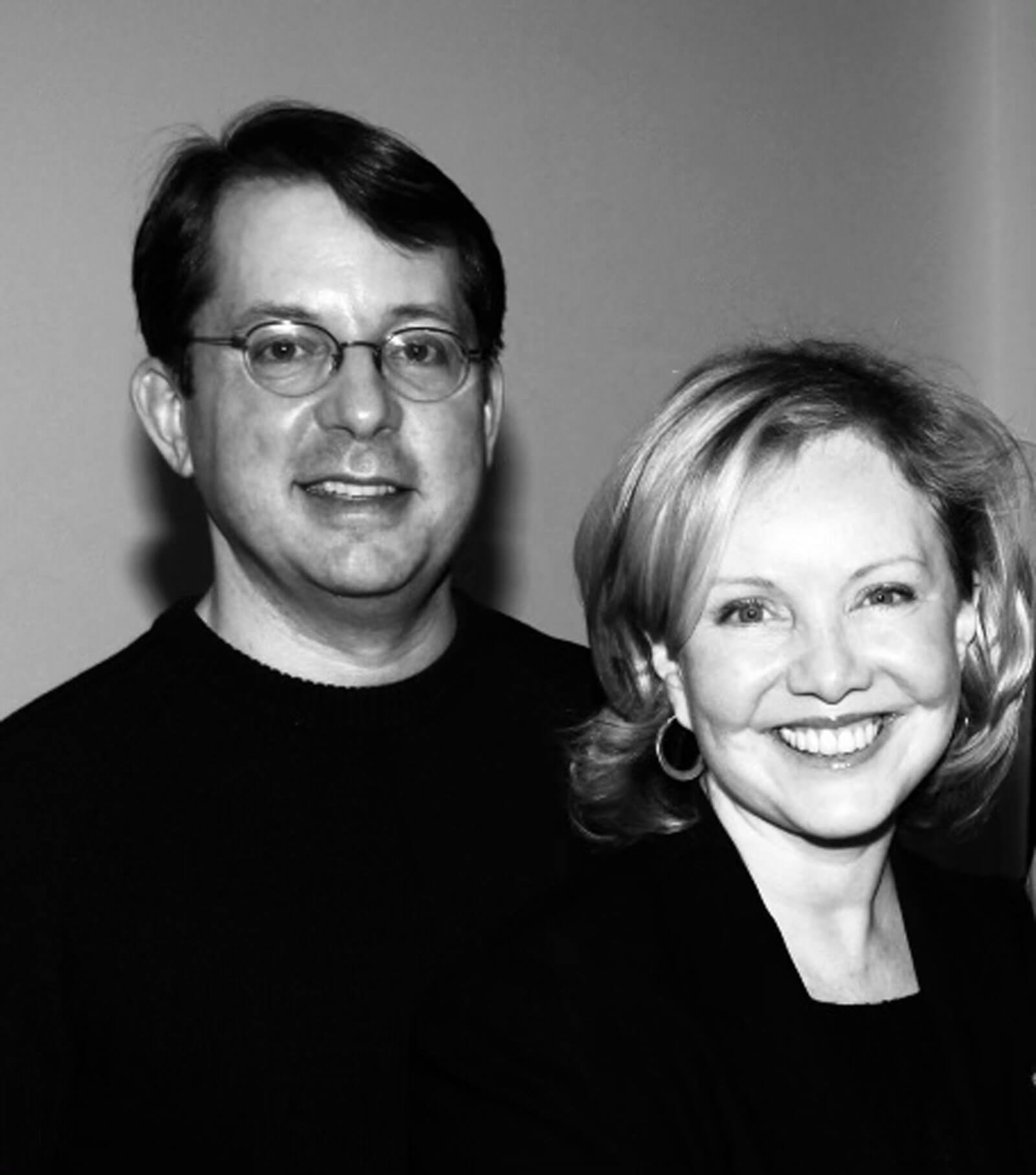 Black and white photo of David Loud and Susan Stroman. Both dressed in black.