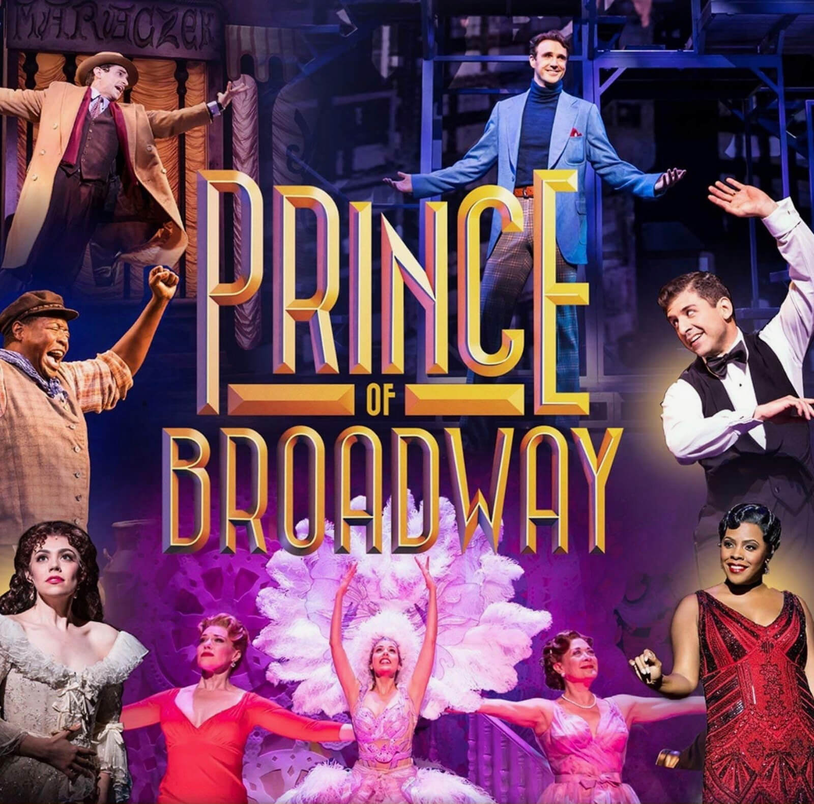 The official logo for Prince of Broadway, with all the characters in different costumes in the background, surrounding the show's title in the middle. The title is elegantly written in big, yellow, narrow fonts, with intricate shadows.