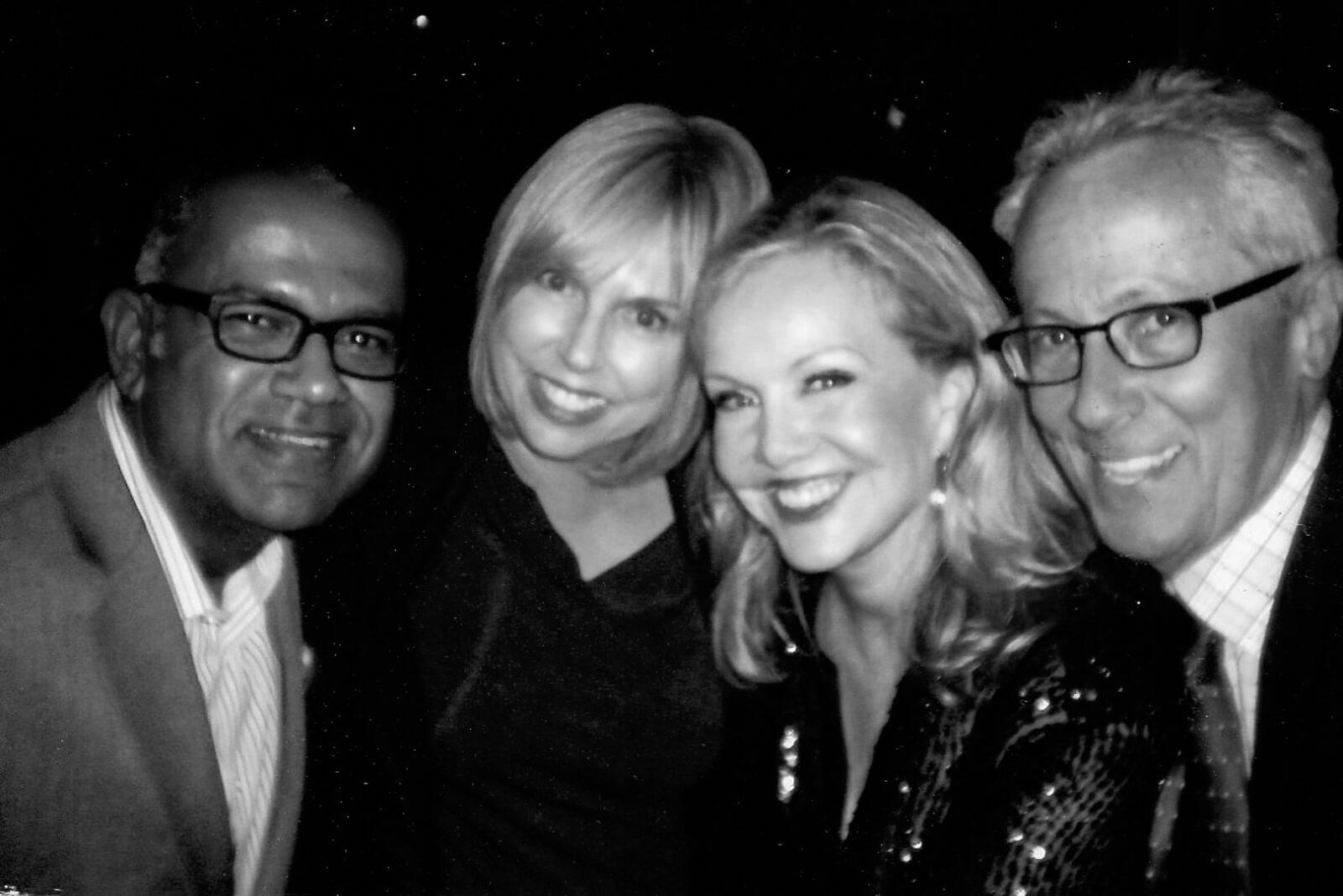 Black and white photo of Andric Bowen, Jessica Lichtner, Susan Stroman, and Bill Hoffman