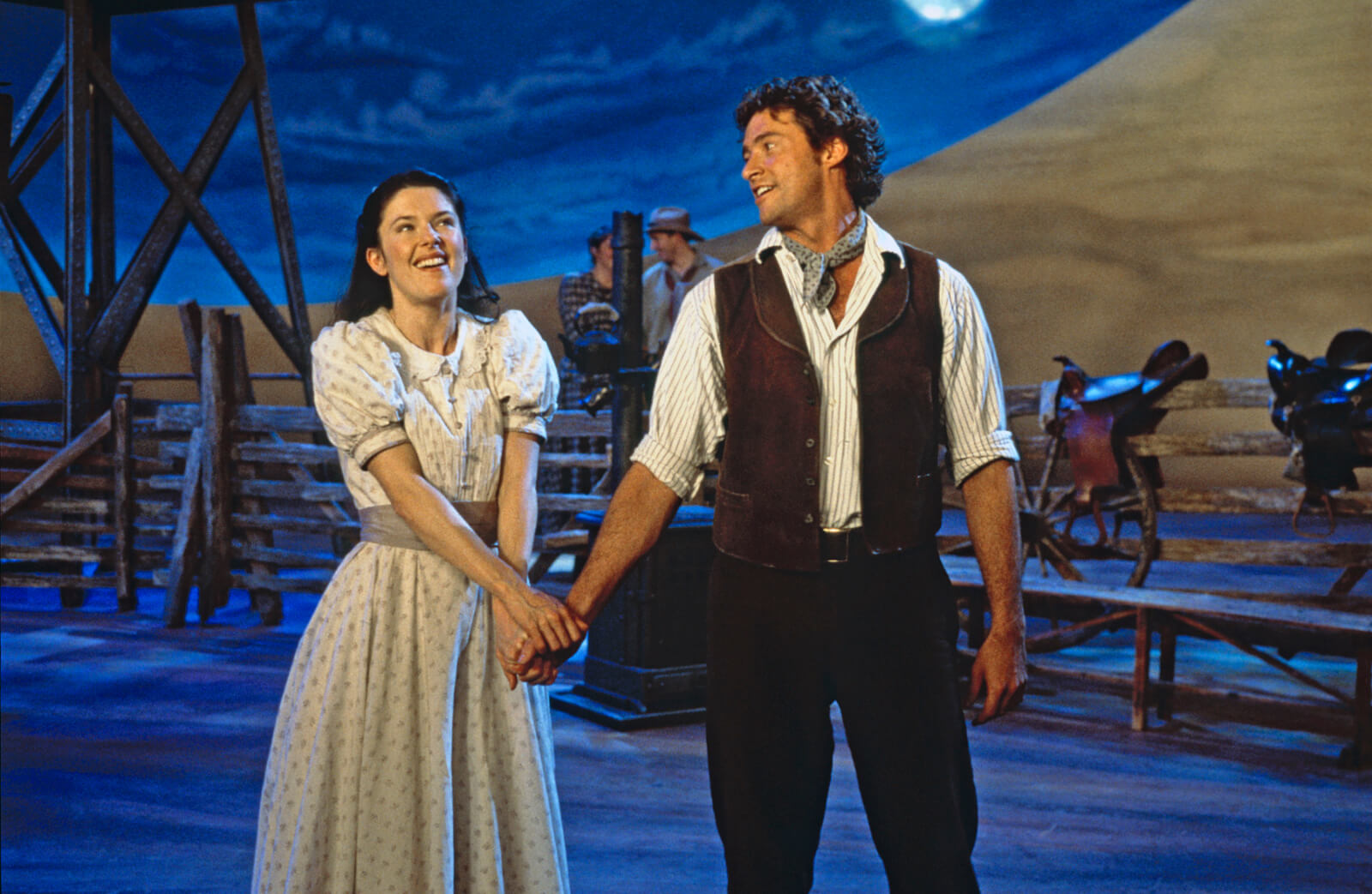 """Curly (Hugh Jackman) and Laurey (Josefina Gabrielle) sing """"People Will Say We're in Love""""."""