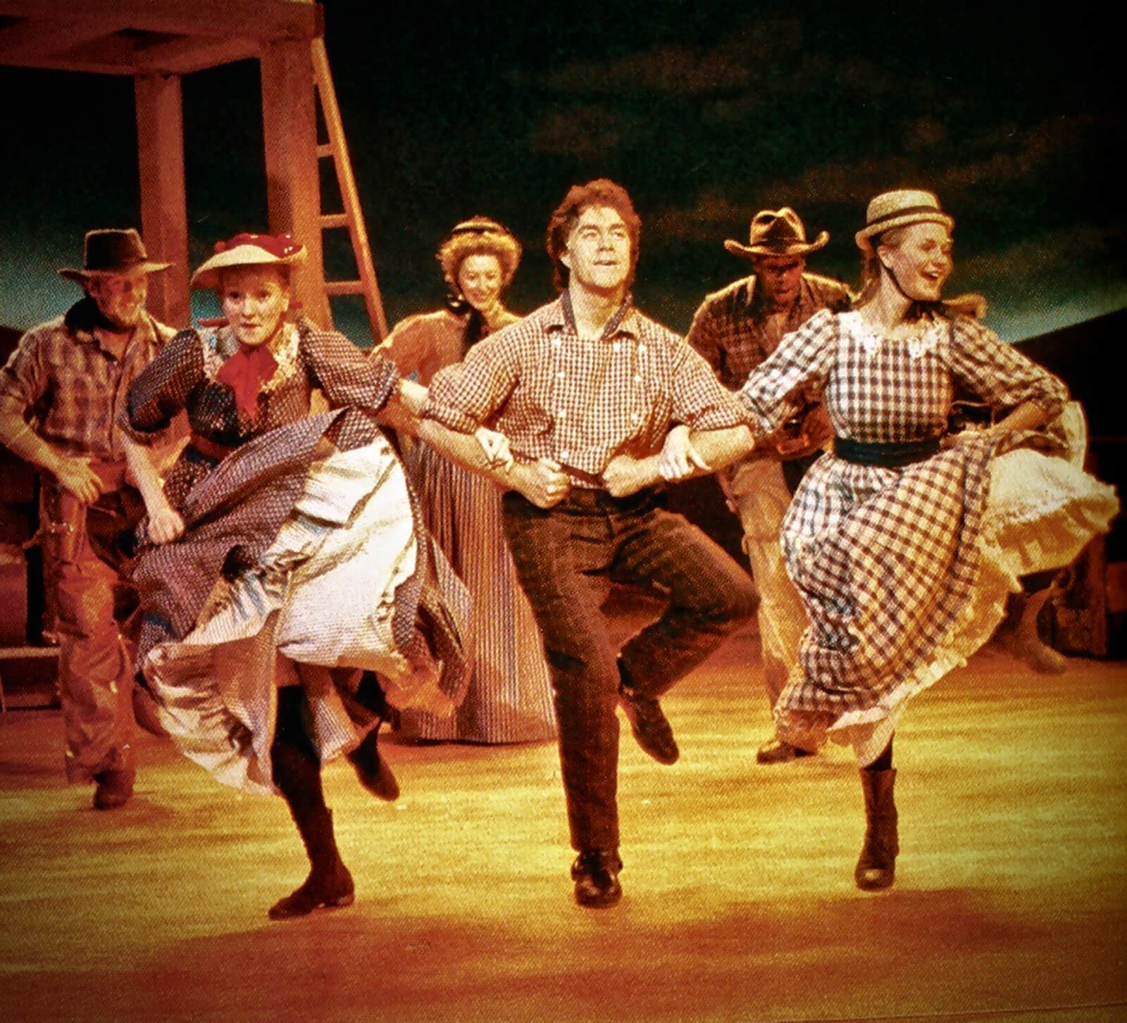 """Will Parker (Jimmy Johnson) singing and dancing with the company in """"Everything's up to date in Kansas City""""."""