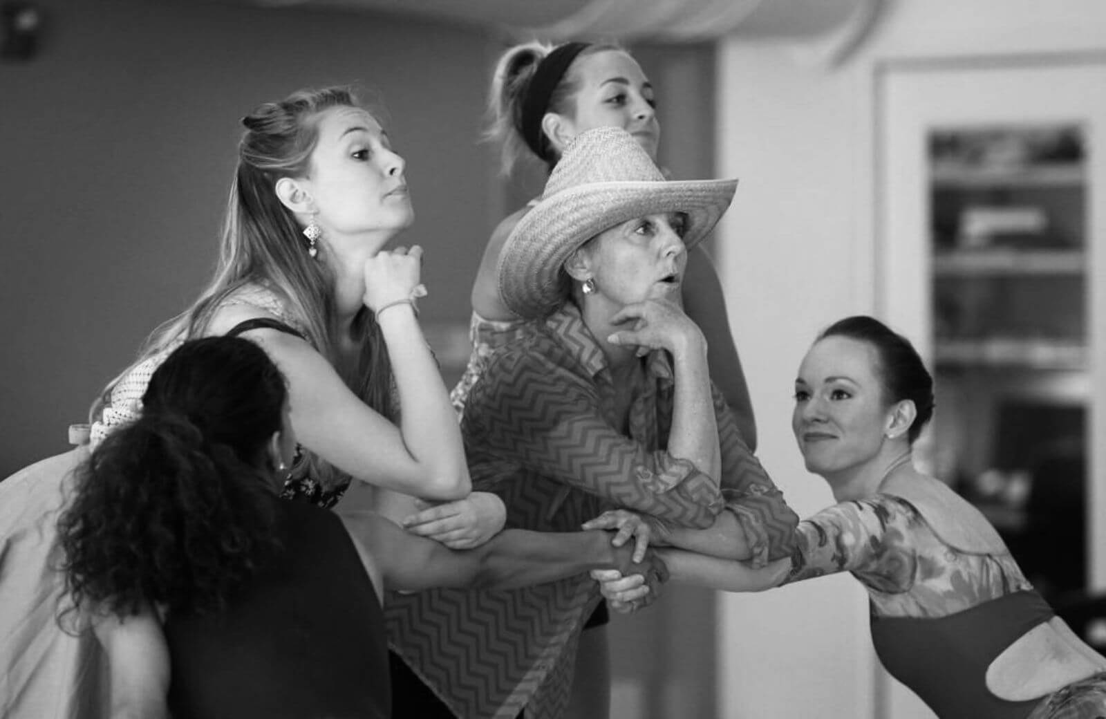 """Associate Choreographer Ginger Thatcher rehearses """"Many a New Day"""" with the Broadway company of Oklahoma."""