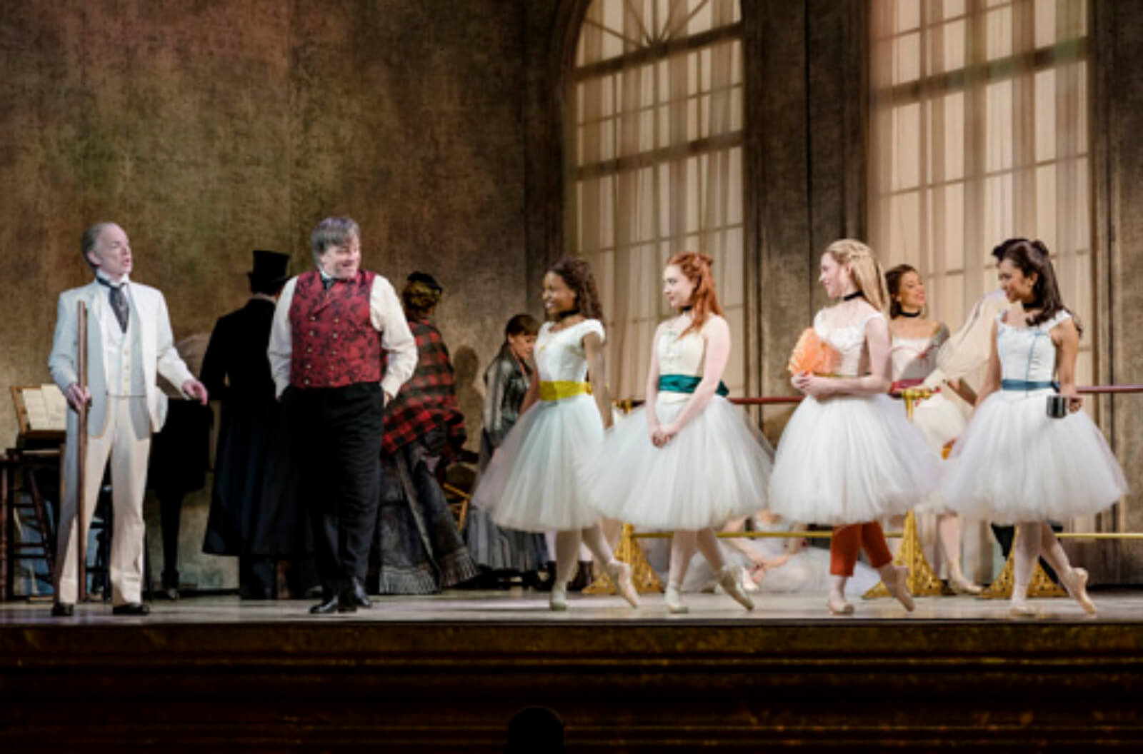 Christopher Gurr, Jimmy Borstelmann and young dancers in ballet class scene from Little Dancer.