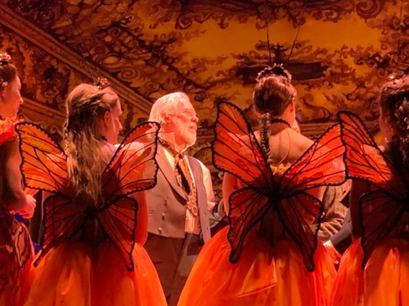 Young Ballerinas in butterfly costumes listen to Degas (Terrence Mann) in the Foyer de la Danse.