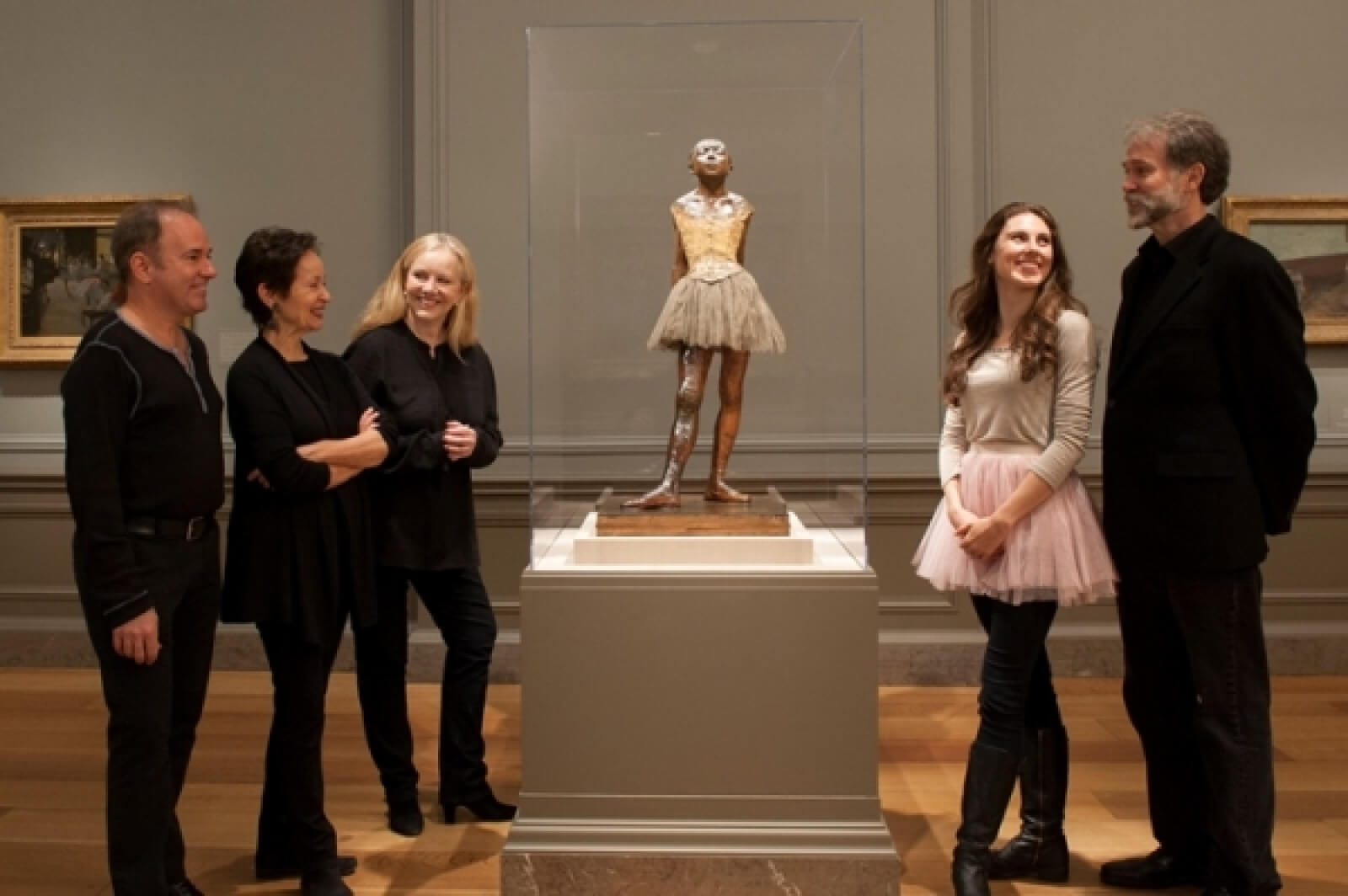 Stephan Flaherty, Lynn Ahrens, Susan Stroman, Tiler Peck, and Boyd Gaines visit Degas sculpture at the National Gallery in Washington DC.