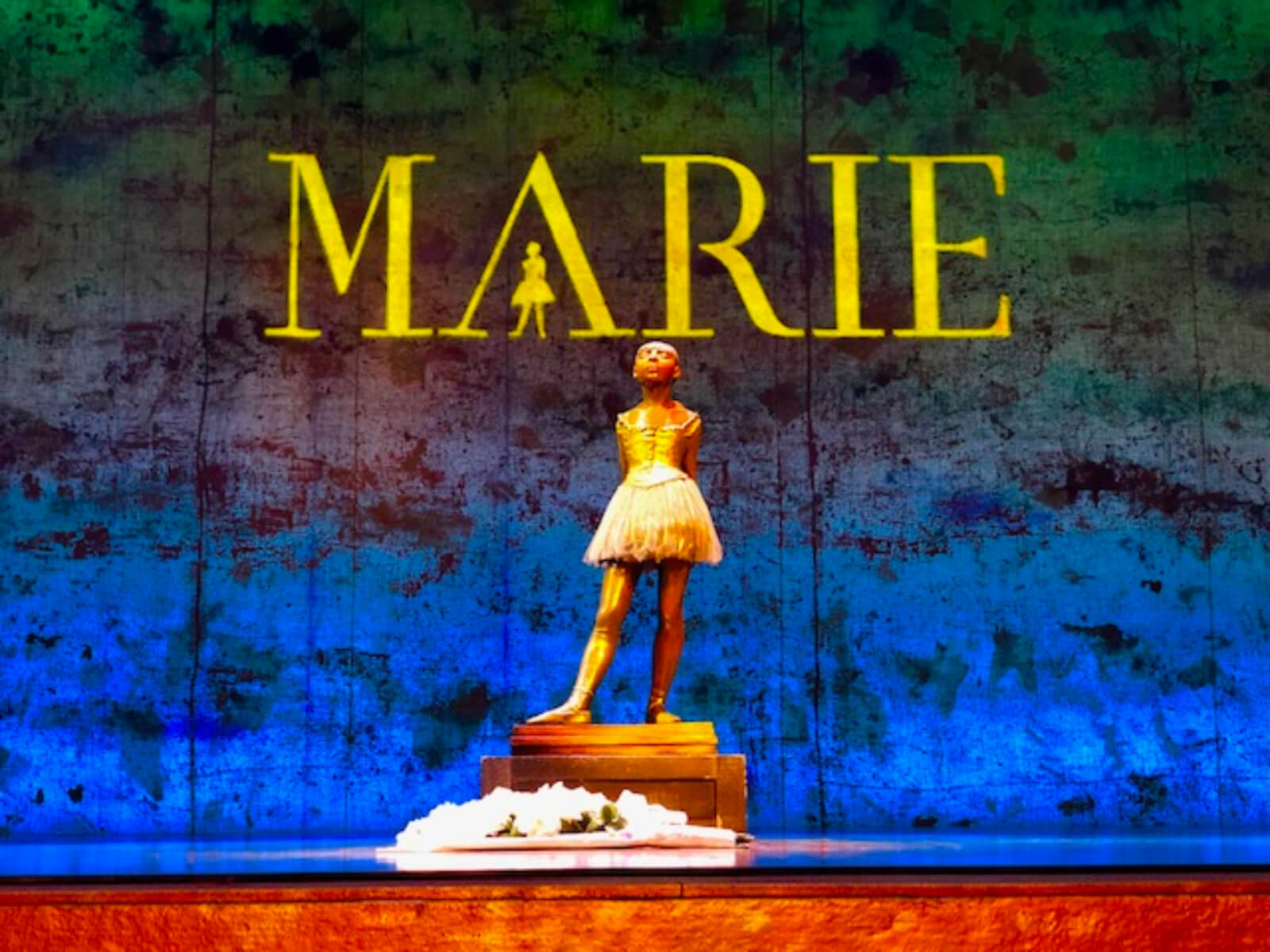 Degas sculpture of The Little Dancer in the musical Marie.