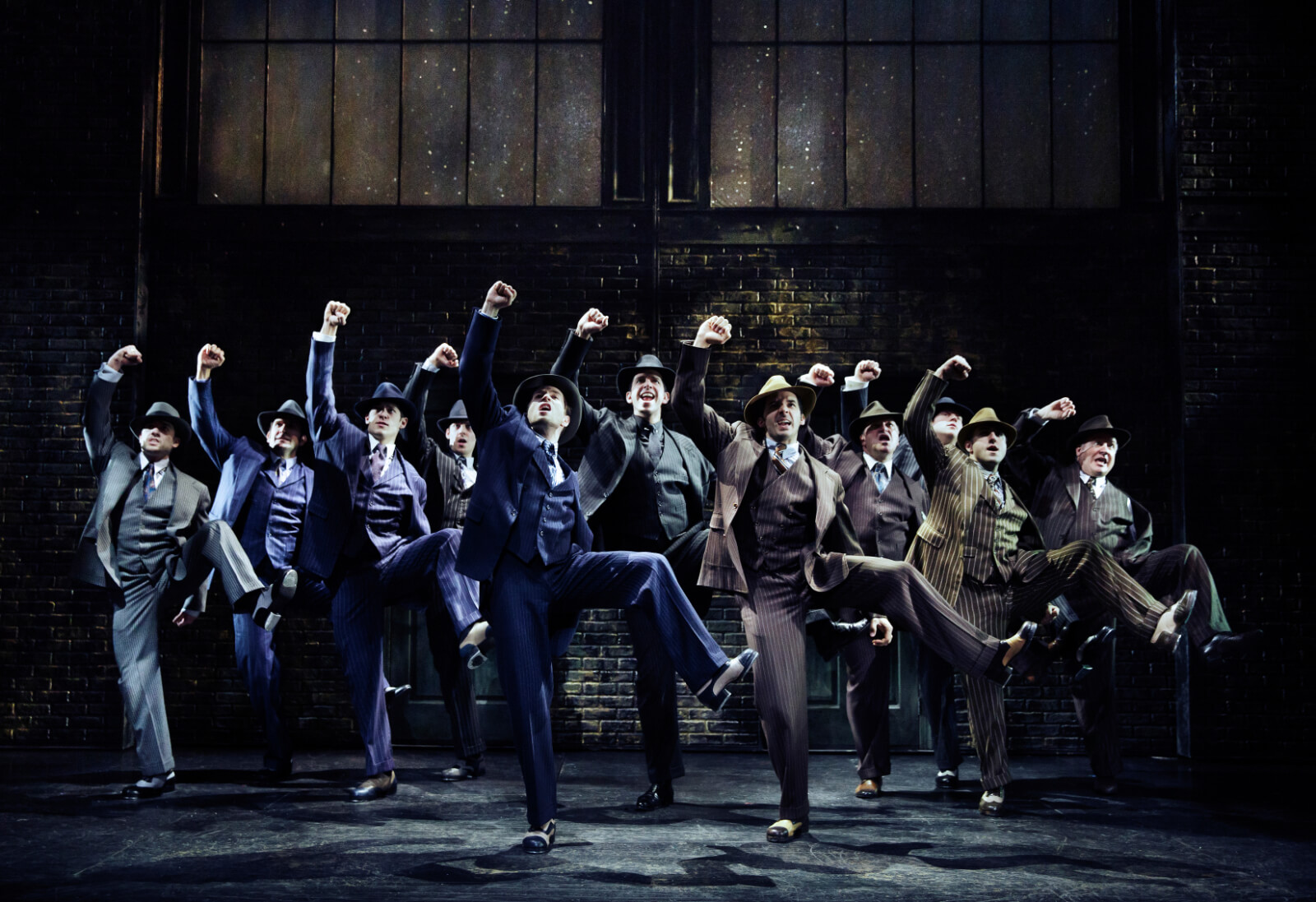 """Cheech (Nick Cordero) and gangsters performing """"Taint' Nobody's Business"""". They are all wearing gangster suits and fedora hats."""
