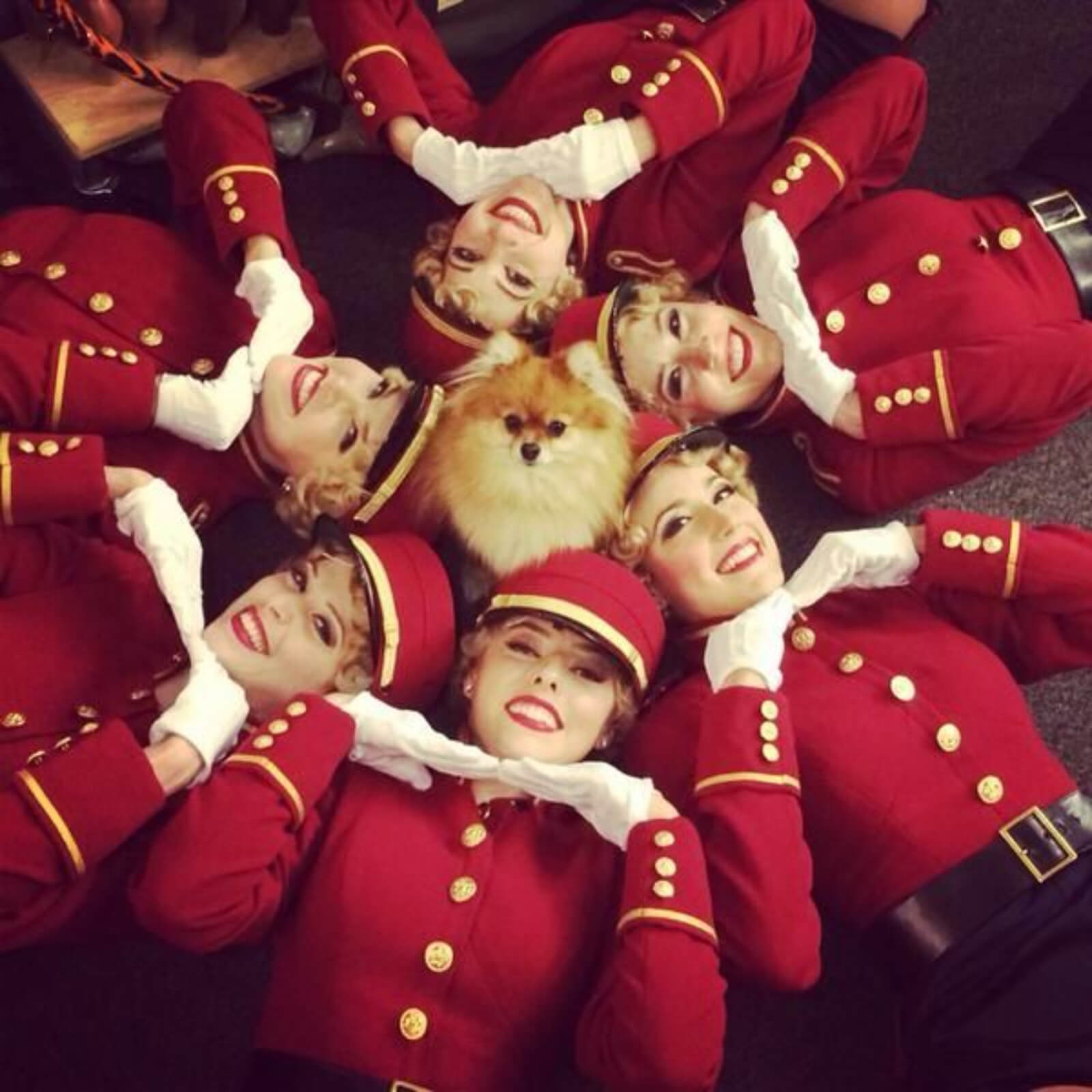 Trixie the dog is surrounded in a circle by members of the female ensemble in red costumes.