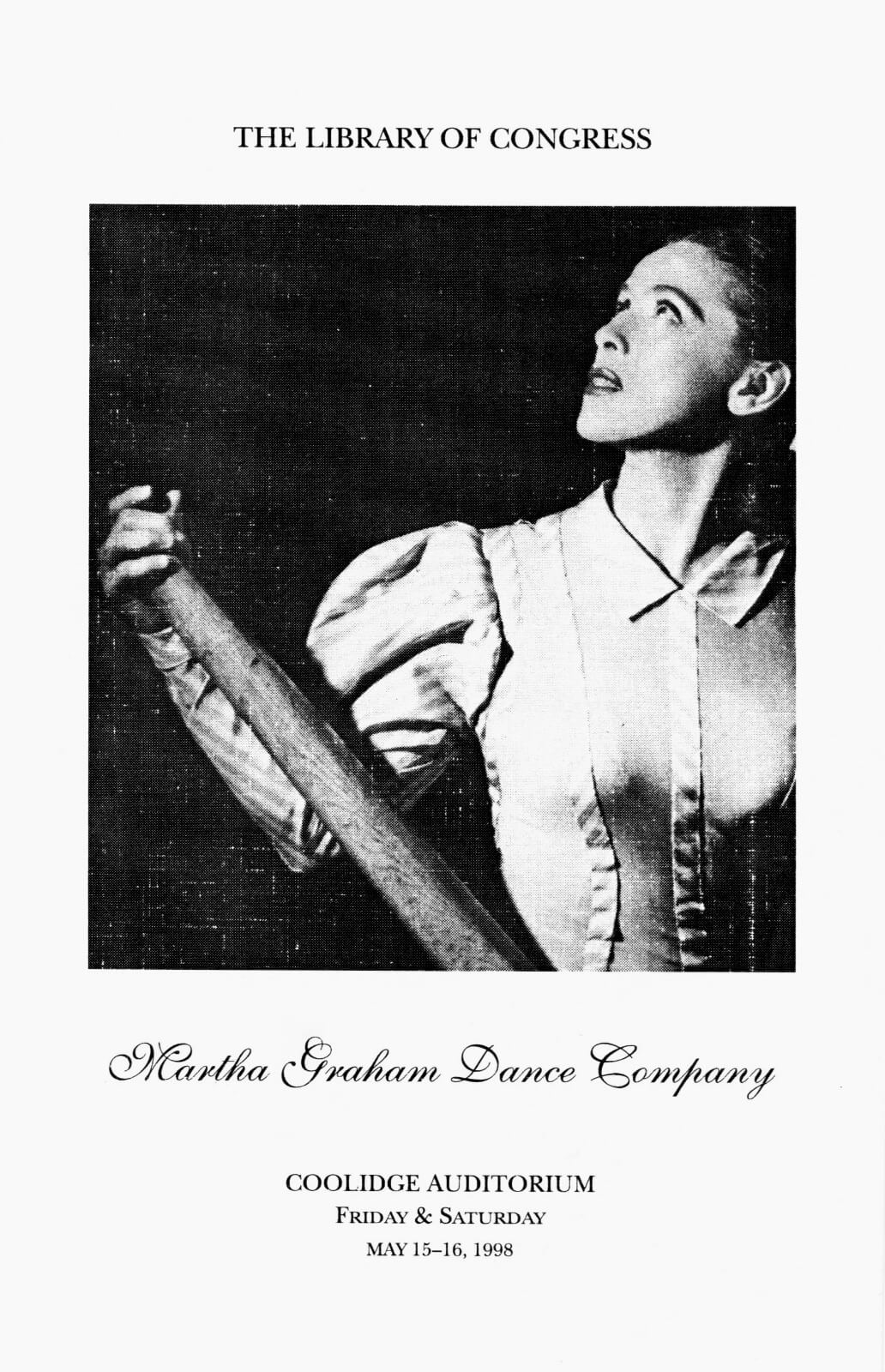 Cover of the program for the performance at The Library of Congress, featuring a photograph of Martha Graham.