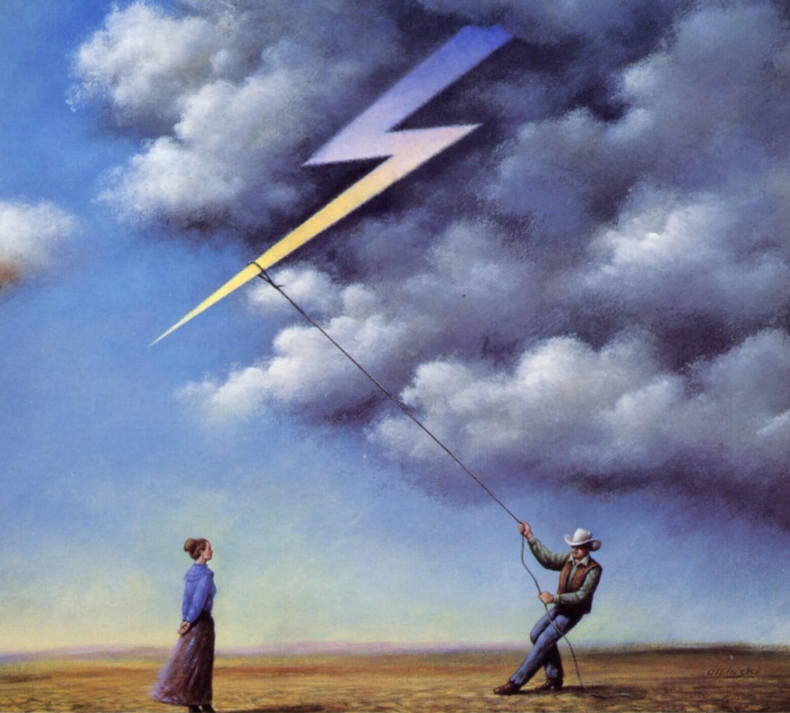 The logo artwork for 110 in the Shade, which shows a painting of a man lassoing a bolt of lightening from the sky, in the middle of a field under heavy dark clouds. A woman in a bun, blue shirt, and brown skirt is watching him from a distance.