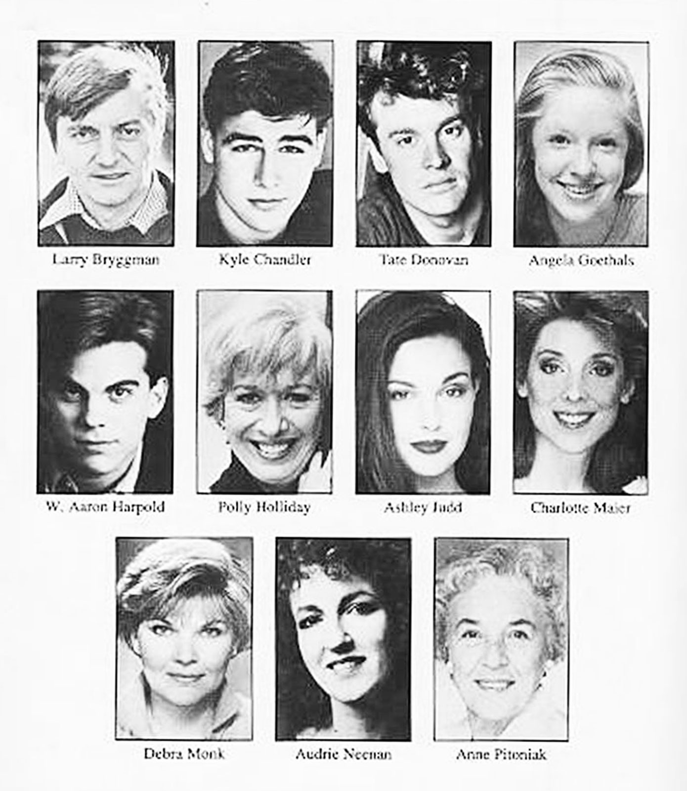 Black and white headshots of the Opening Night Cast of the Broadway Production in 1994.