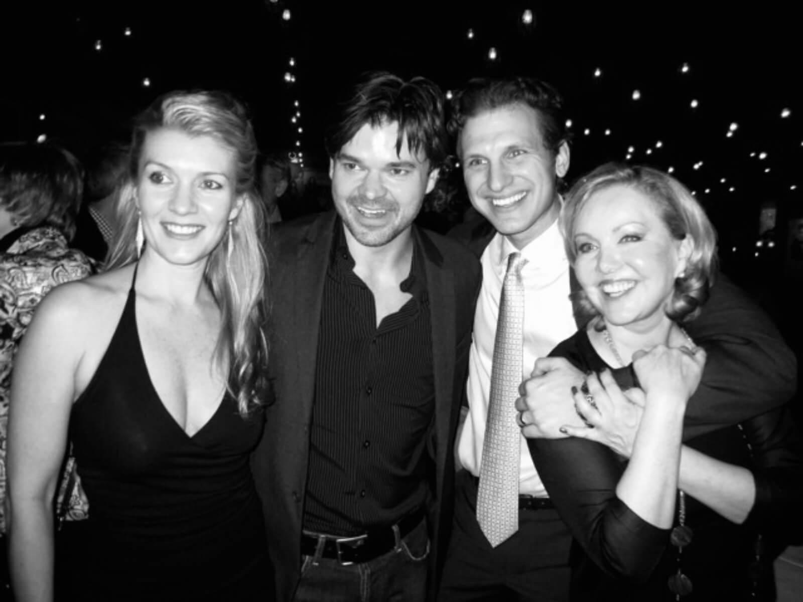 Associate Choreographer Joanne Manning, Happiness stars Hunter Foster and Sebastian Arcelus and Director Susan Stroman.
