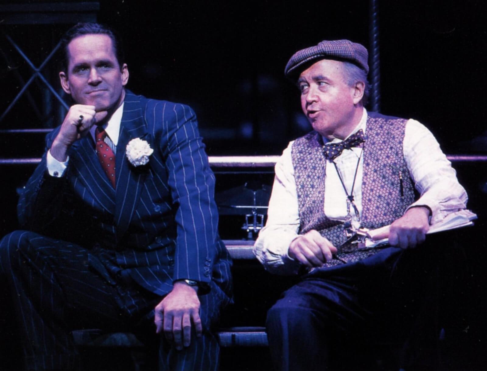 Mick Hamilton (Gregory Harrison) and Mr. Walker (Ronn Carroll)in Steel Pier.