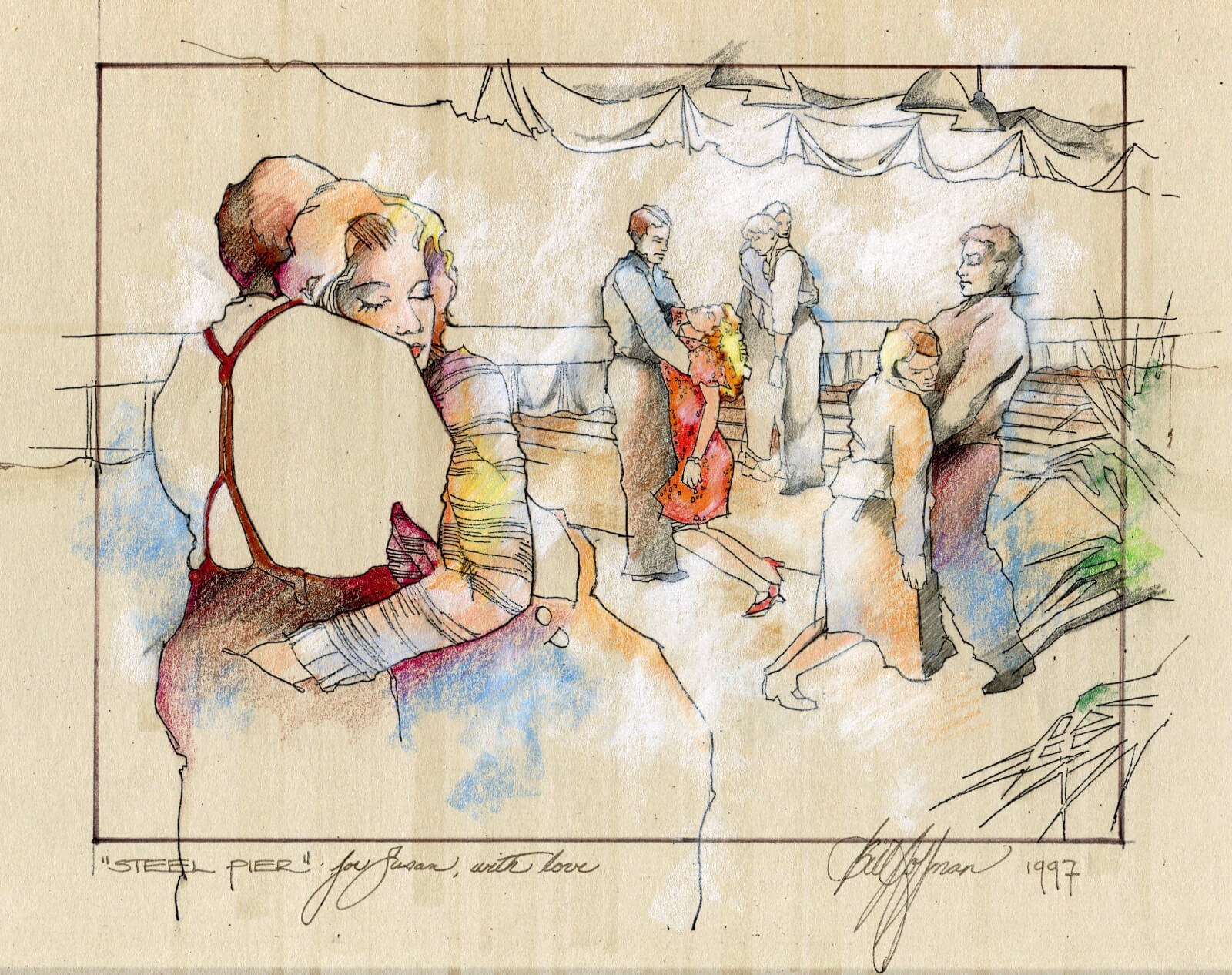 Illustration by Bill Hoffman showing exhausted dance couples passing out in each others arms.