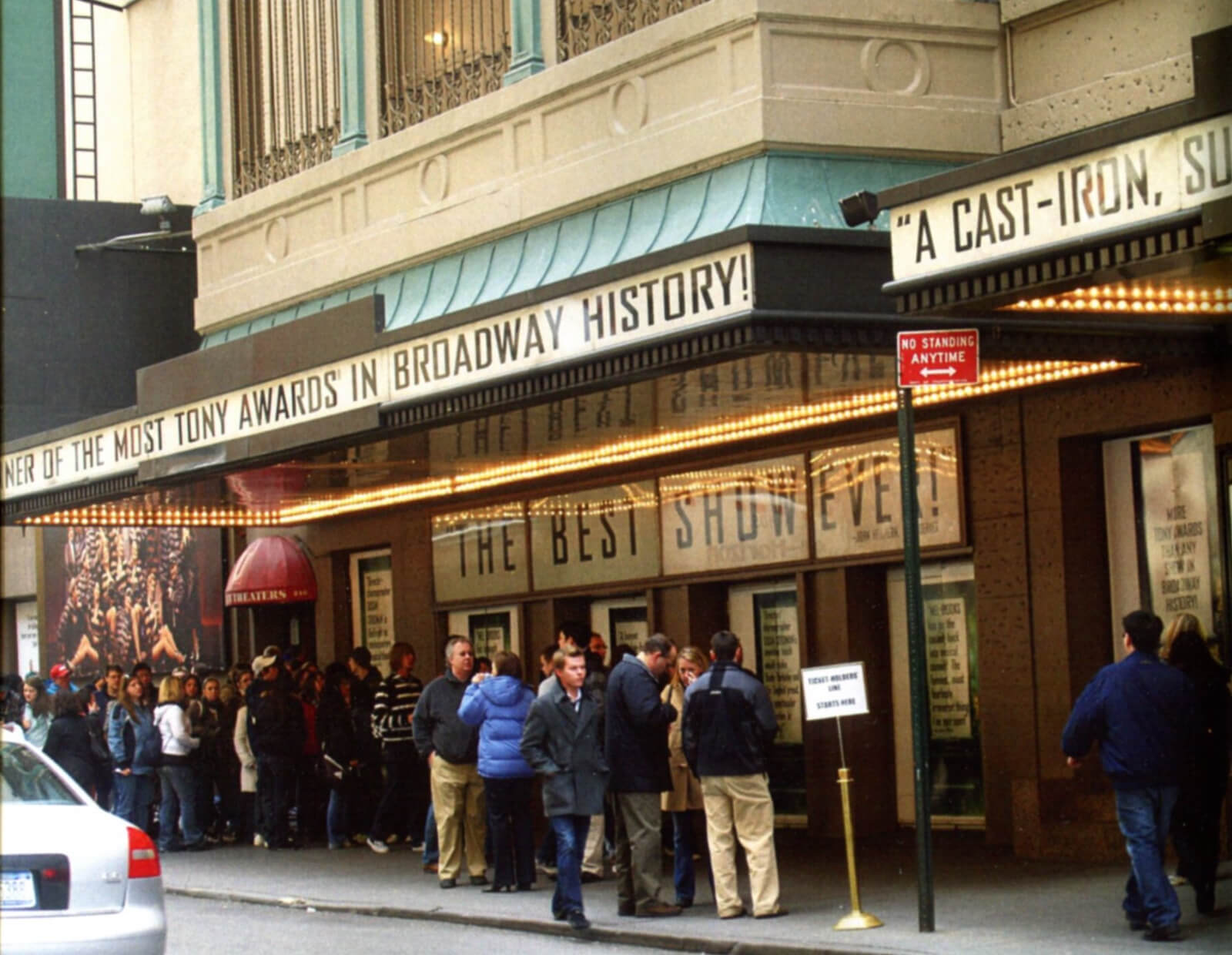 A large crowd is in line for the St. James Box Office to get tickets to The Producers