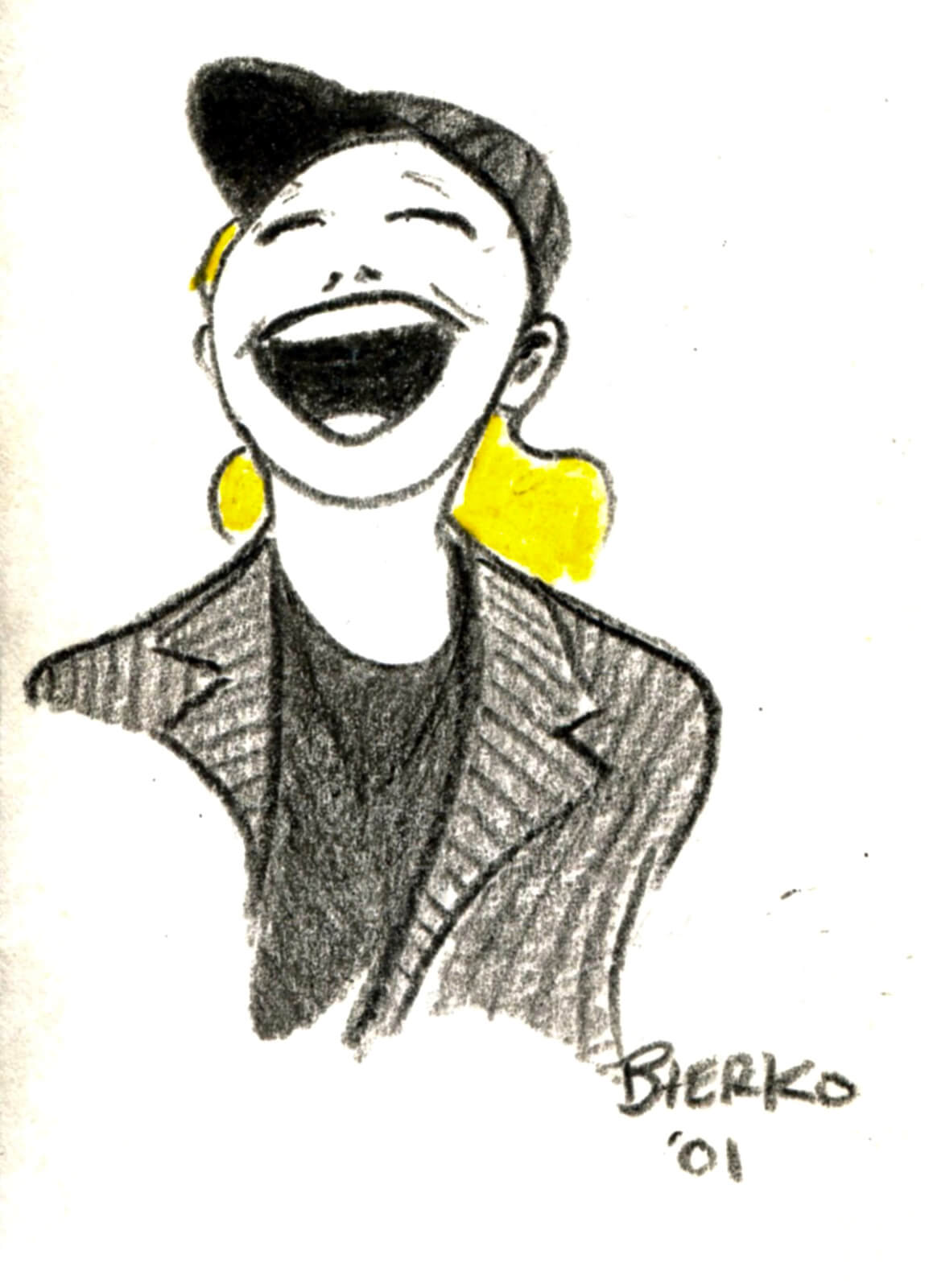 Craig Bierko's charcoal drawing of Susan Stroman: shown in an Al Hirshfeld style drawing, wearing signature black suit, black baseball hat, and sporting blonde hair while laughing.