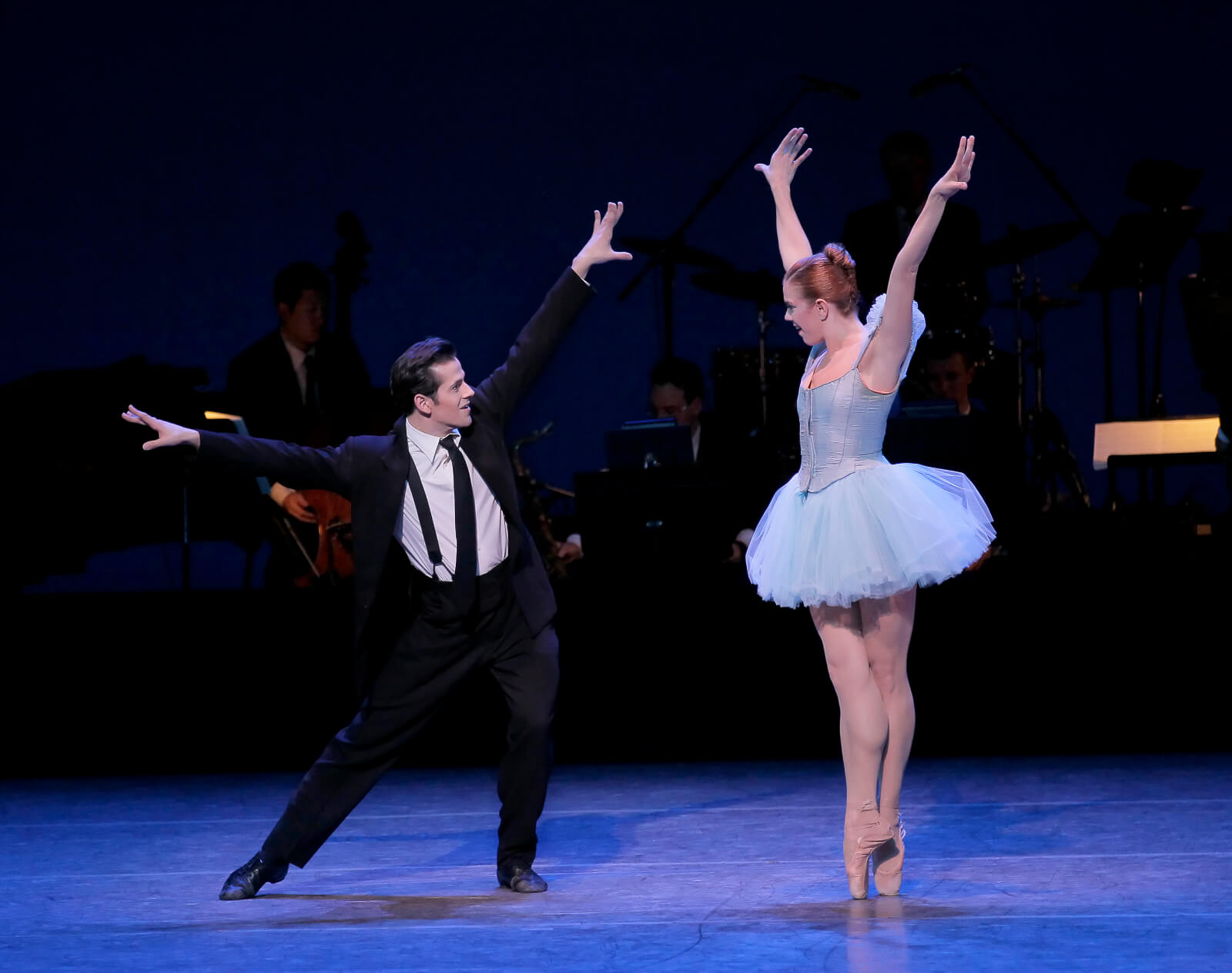 """A pas de deux to """"Lotus Blossom"""" between The Musician (Robert Fairchild) and Blossom (Savannah Lowery). She is wearing a beautiful dega-like tutu."""
