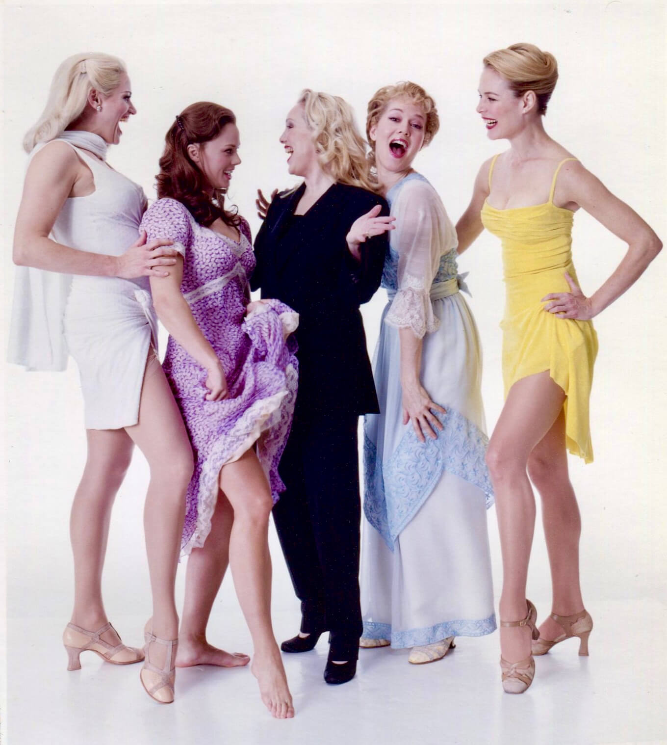 Susan Stroman with (left to right) Cady Huffman as Ula, Kate Levering as Therese, Rebecca Luker as Marian, and Colleen Dunn as Girl in Yellow in the Dress.