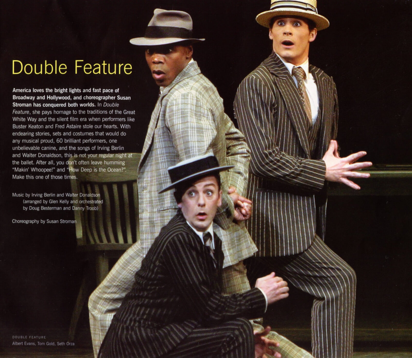 """Albert Evan, Tom Gold and Seth Orza dancing to """"My Baby Just Cares For Me"""" in Makin' Whoopee. (all dressed in suits and wearing hats)."""