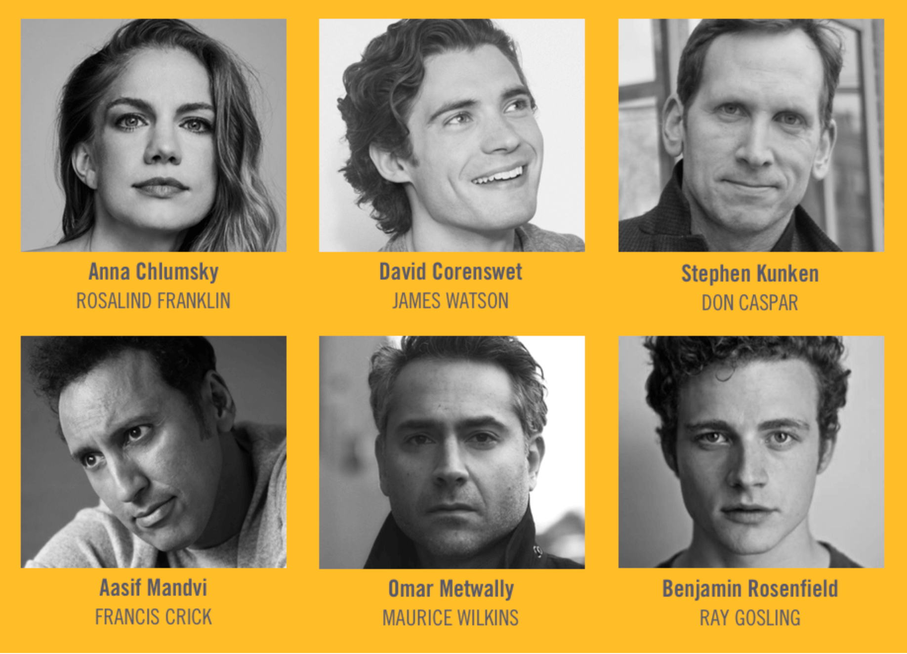 The cast of the Audible/Williamstown Theatre Festival production: black and white square headshots on the orange background.