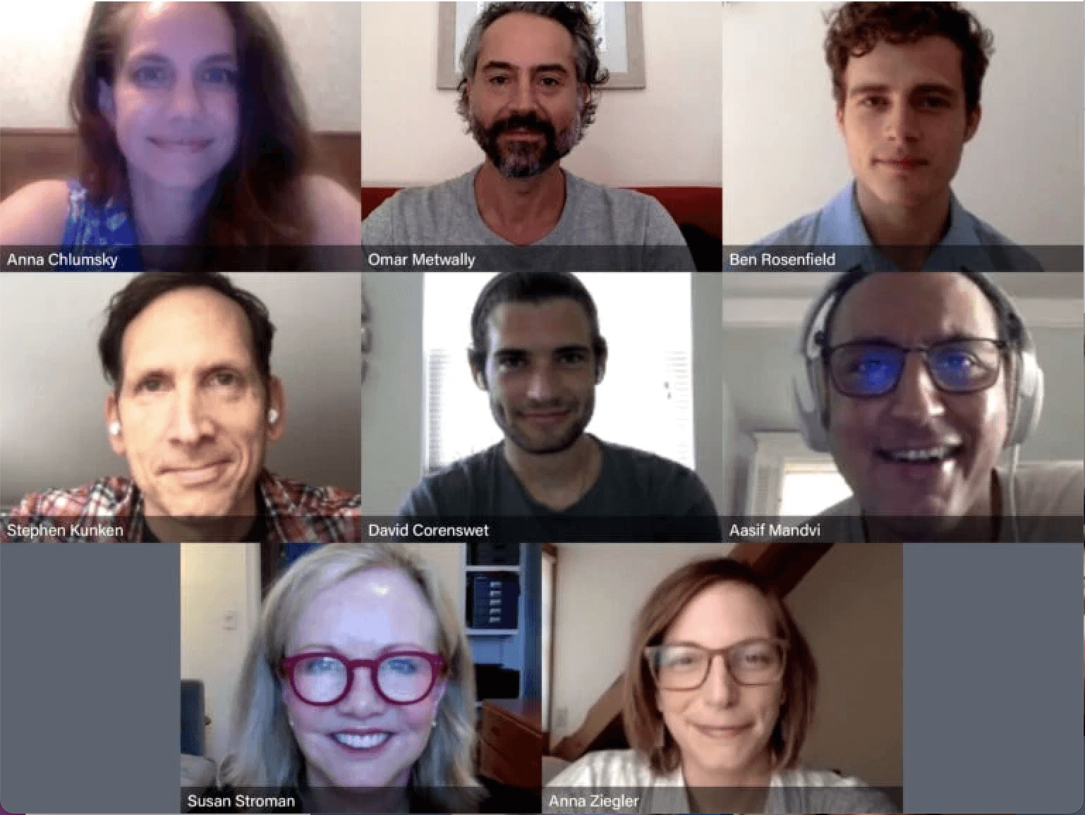 The company of 8 cast and creatives meet and rehearse on Zoom.