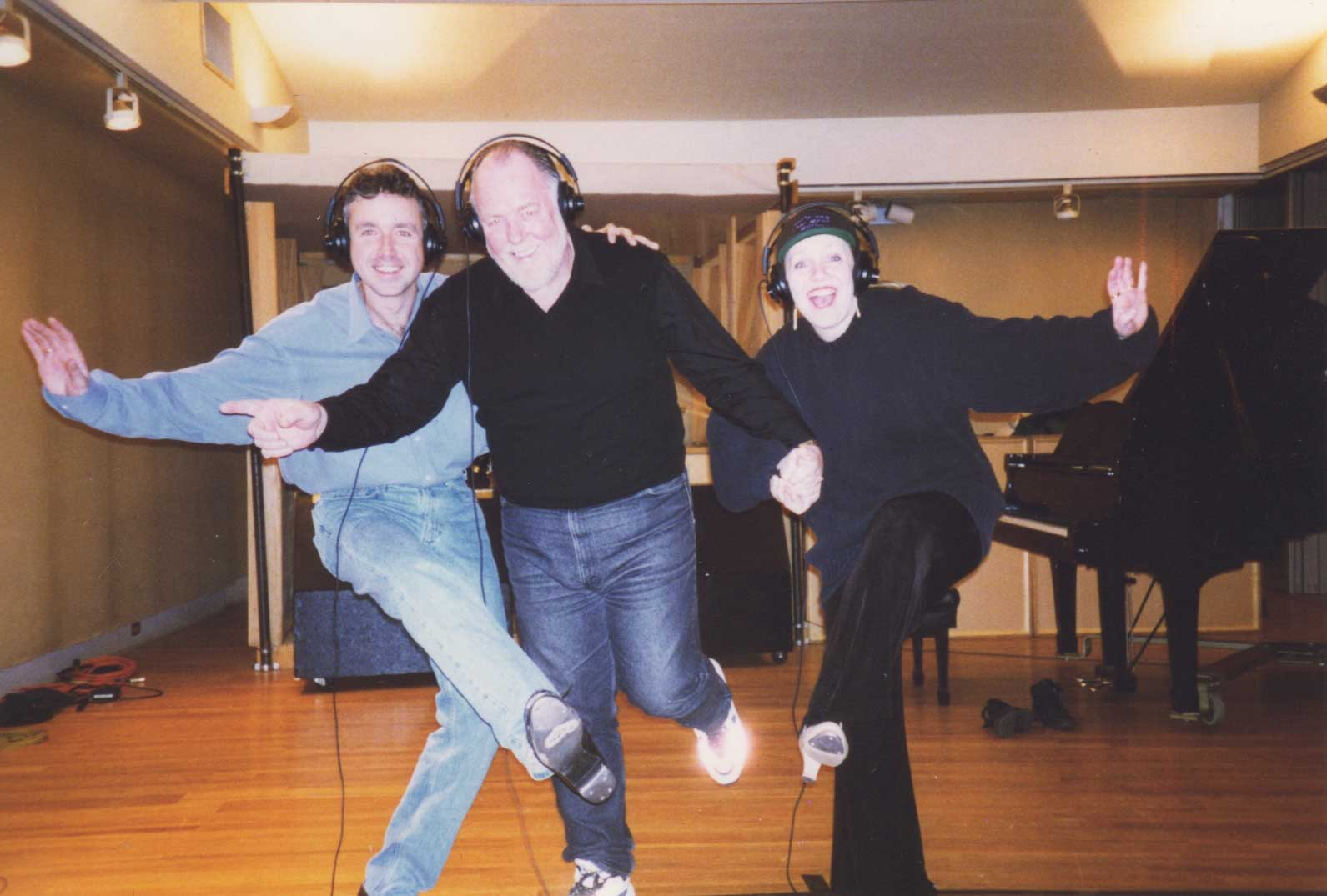 Chris Peterson, Paul Gemignani, and Susan Stroman in a recording session for the album of Crazy for You.