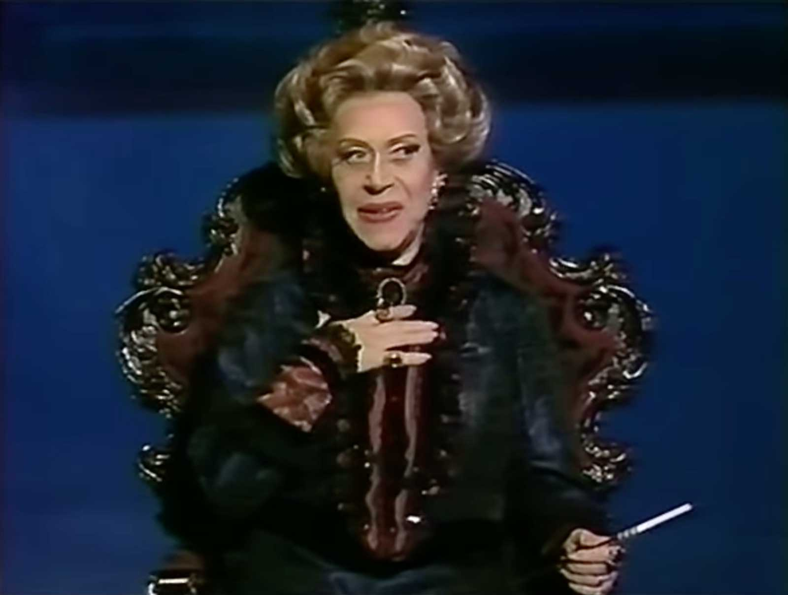 """Regina Resnik as Madame Armfeldt singing """"Liaisons"""". She is sitting in a fancy wheelchair in A Little Night Music."""