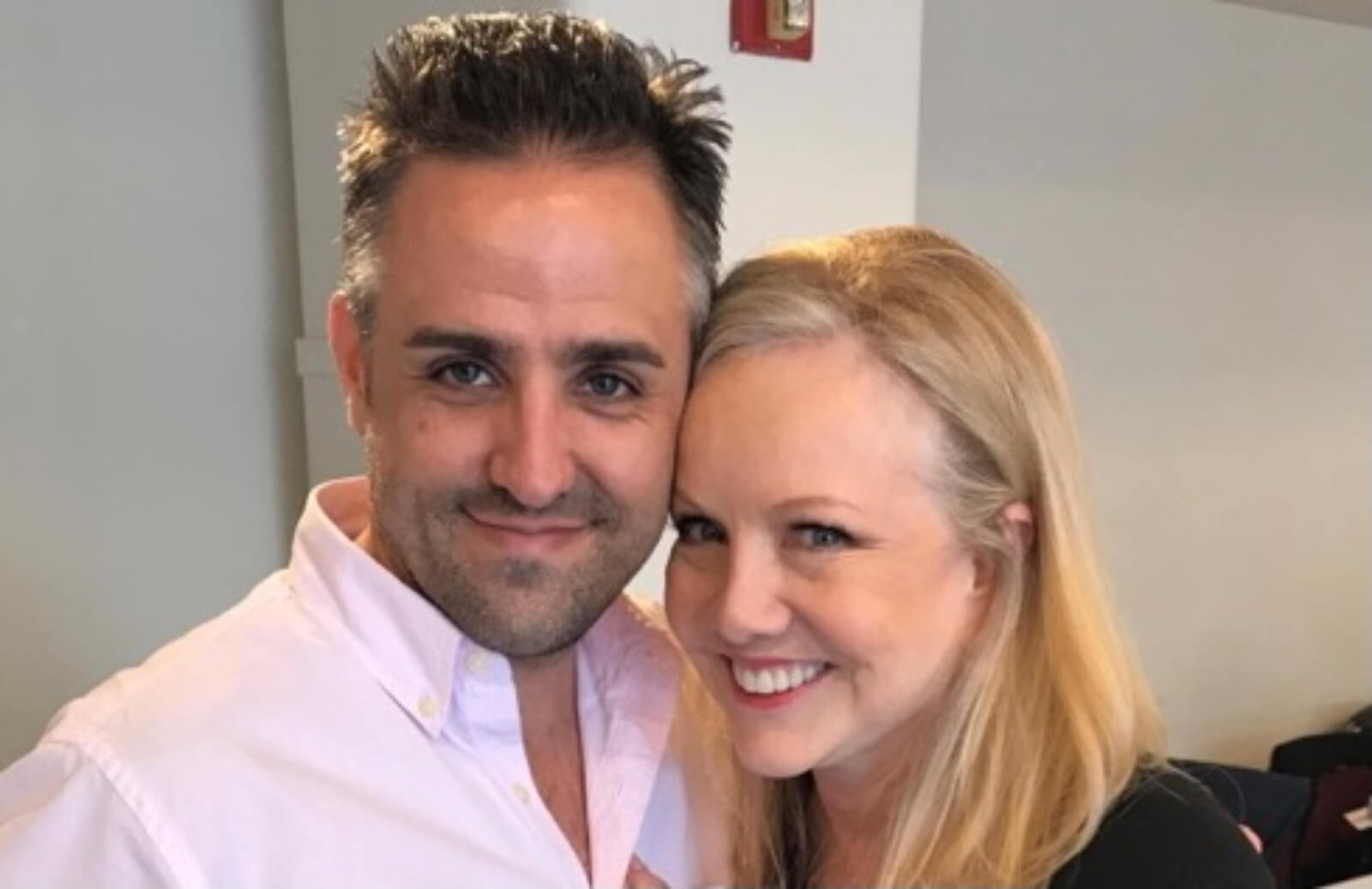 Associate Eric Santagata (dressed in a pink button up shirt) and Director Susan Stroman (dressed in signature blacks)