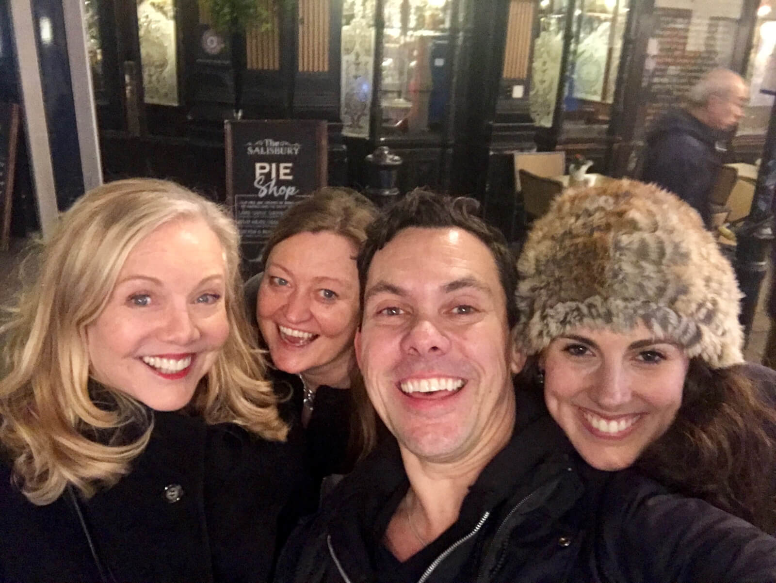 Director Susan Stroman, Casting Director Jill Green, Associate Choreographer James Gray, and dance star Tiler Peck. All are huddled outside and in front of The Salisbury Pie Shop.