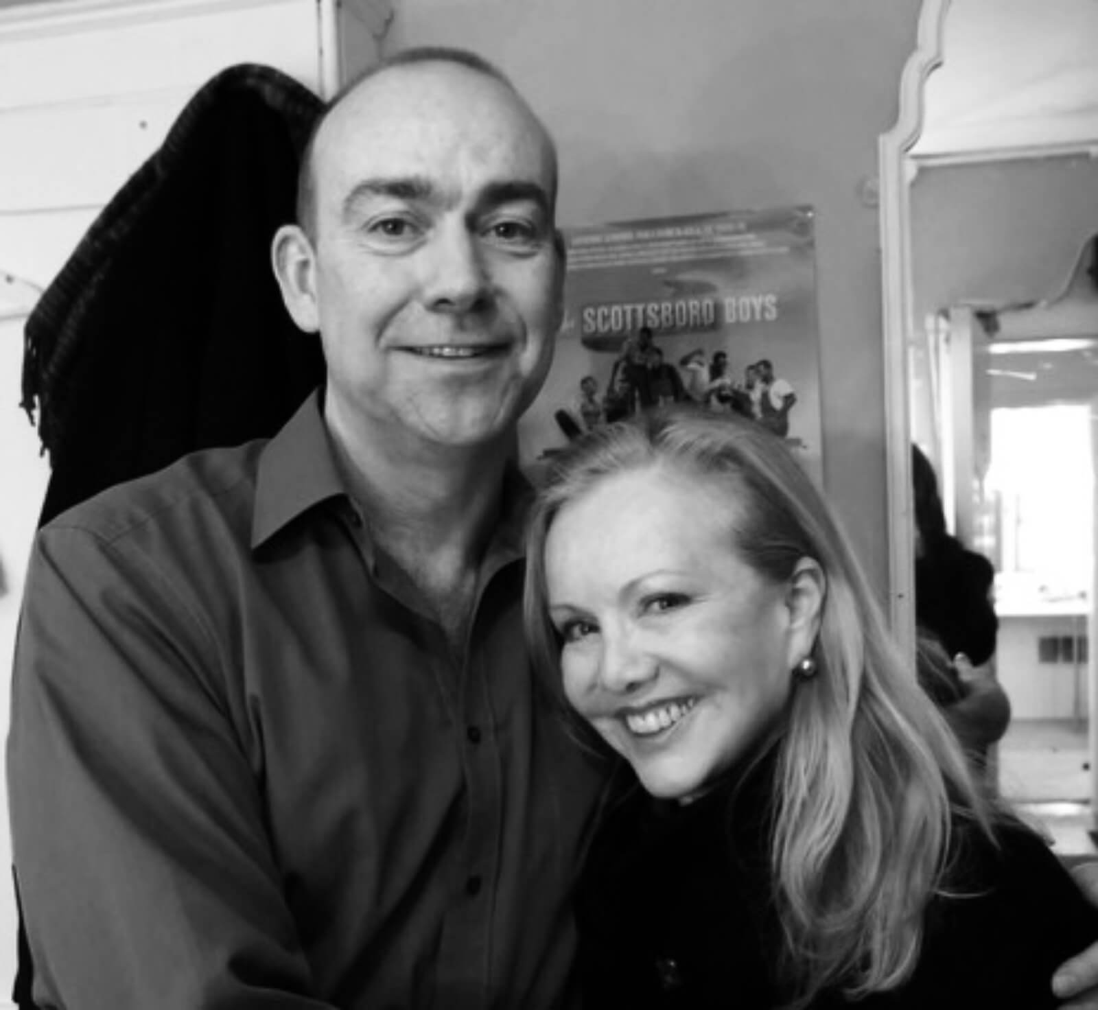 Black and white photo of Associate Director of West End's Young Frankenstein, Crazy for You, and The Scottsboro Boys Nigel West, with Director/Choreographer Susan Stroman backstage at the Garrick Theater.