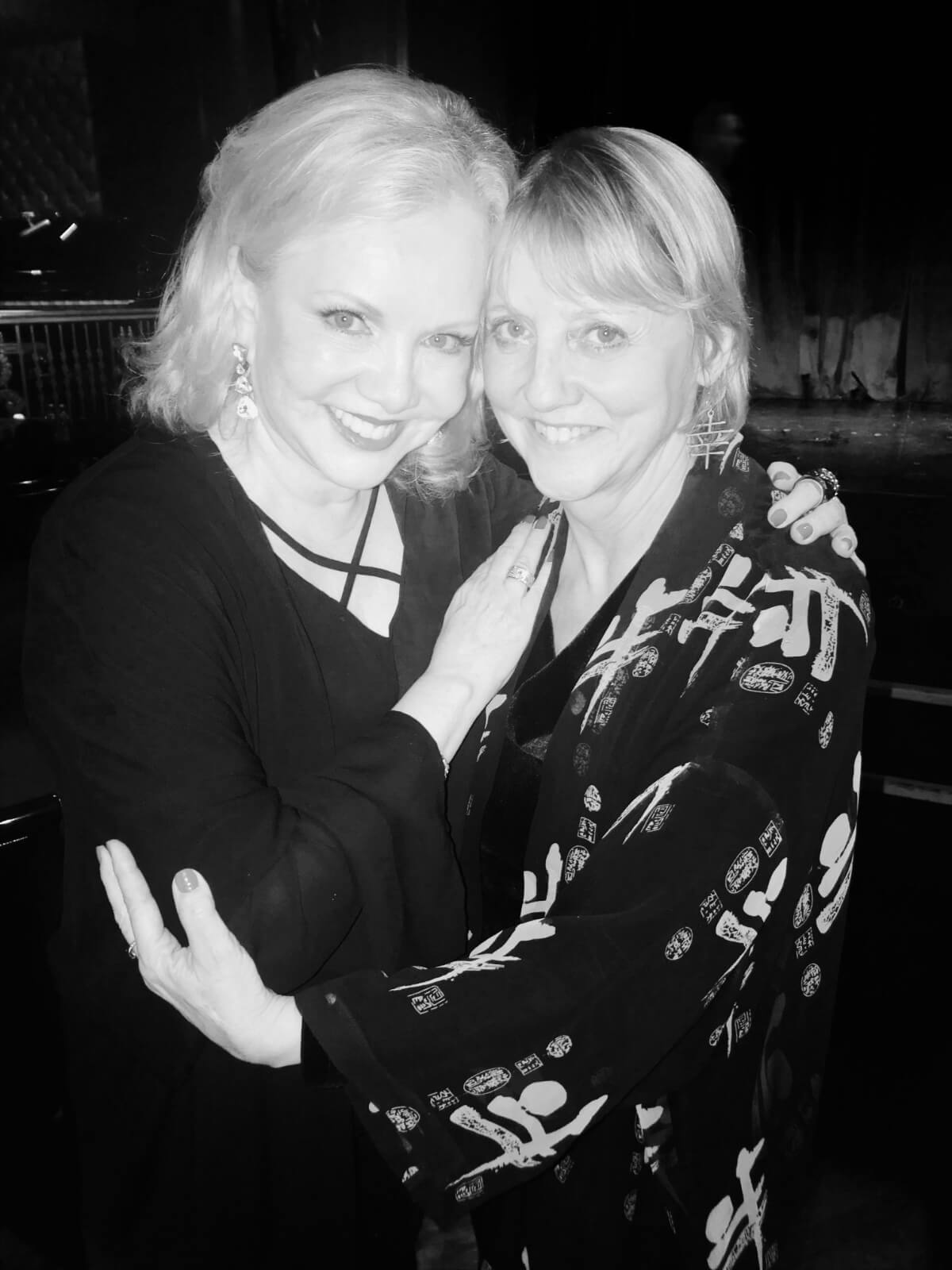 Black and white photo of Susan Stroman with Associate Choreographer of Little Dancer and Oklahoma! Ginger Thatcher. Both are dressed elegantly.