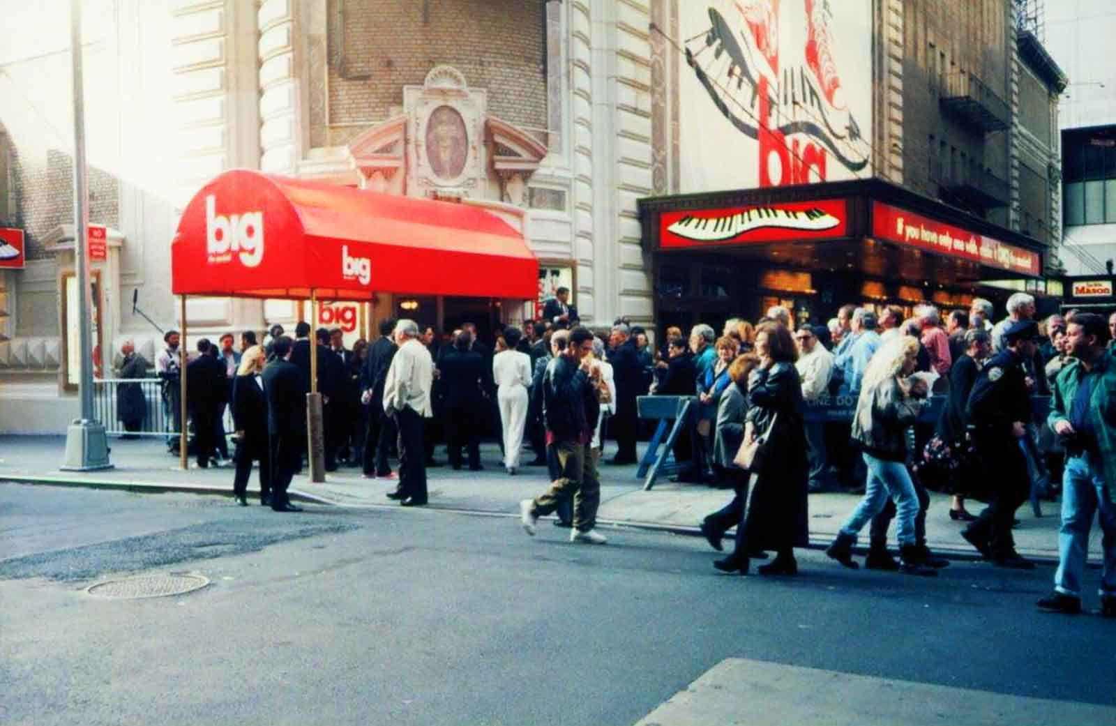 Opening Night of Big The Musical on Broadway at the Shubert Theatre. Show logo on the marquee and theatre entrance, with a crowd of people waiting to get inside.