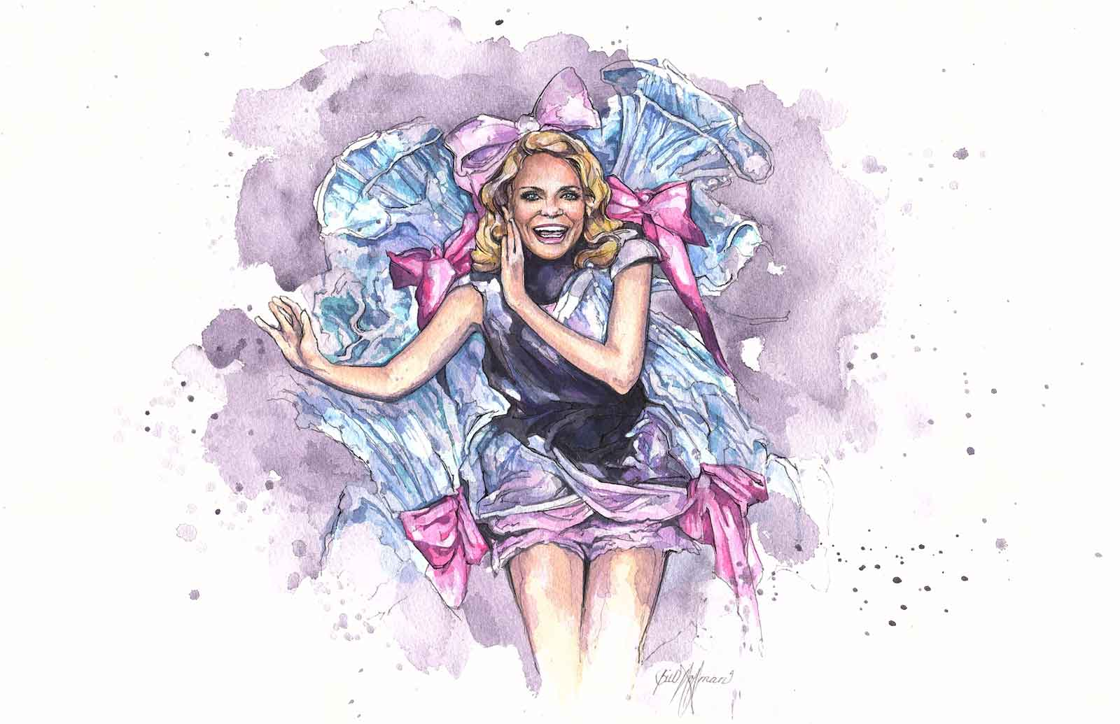 """A watercolor of Kristin Chenoweth who made her Broadway Debut in Steel Pier as Precious McGuire singing """"Two Little Words"""". Watercolor by Bill Hoffman."""