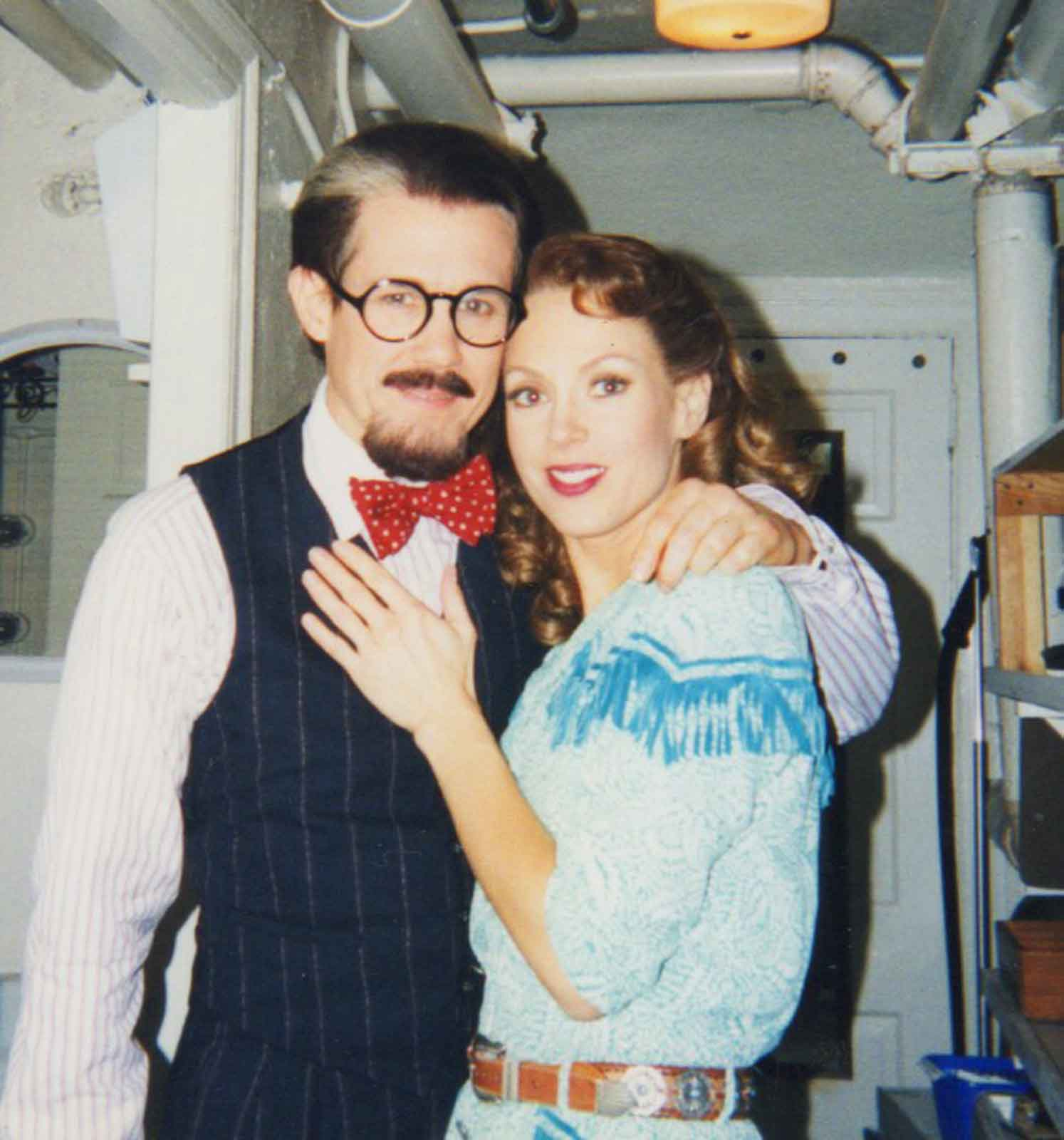 Jimmy Walton and Stacey Logan as Bobby and Polly for the filming of thePBSCrazy for You. They are backstage and in costume.