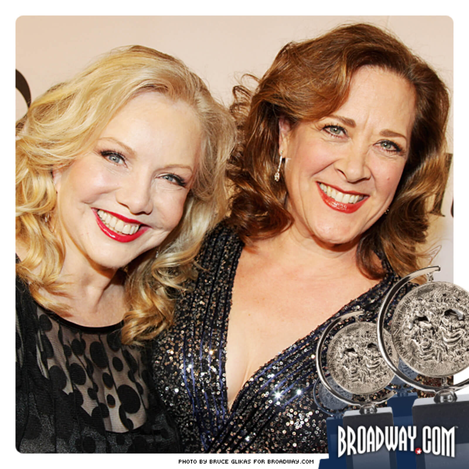 Susan Stroman in a black dress embracing Karen Ziemba is a navy sequined dress. Karen was in Crazy For You, And The World Goes 'Round, Steel Pier, 110 In The Shade, Contact, and Bullets Over Broadway.