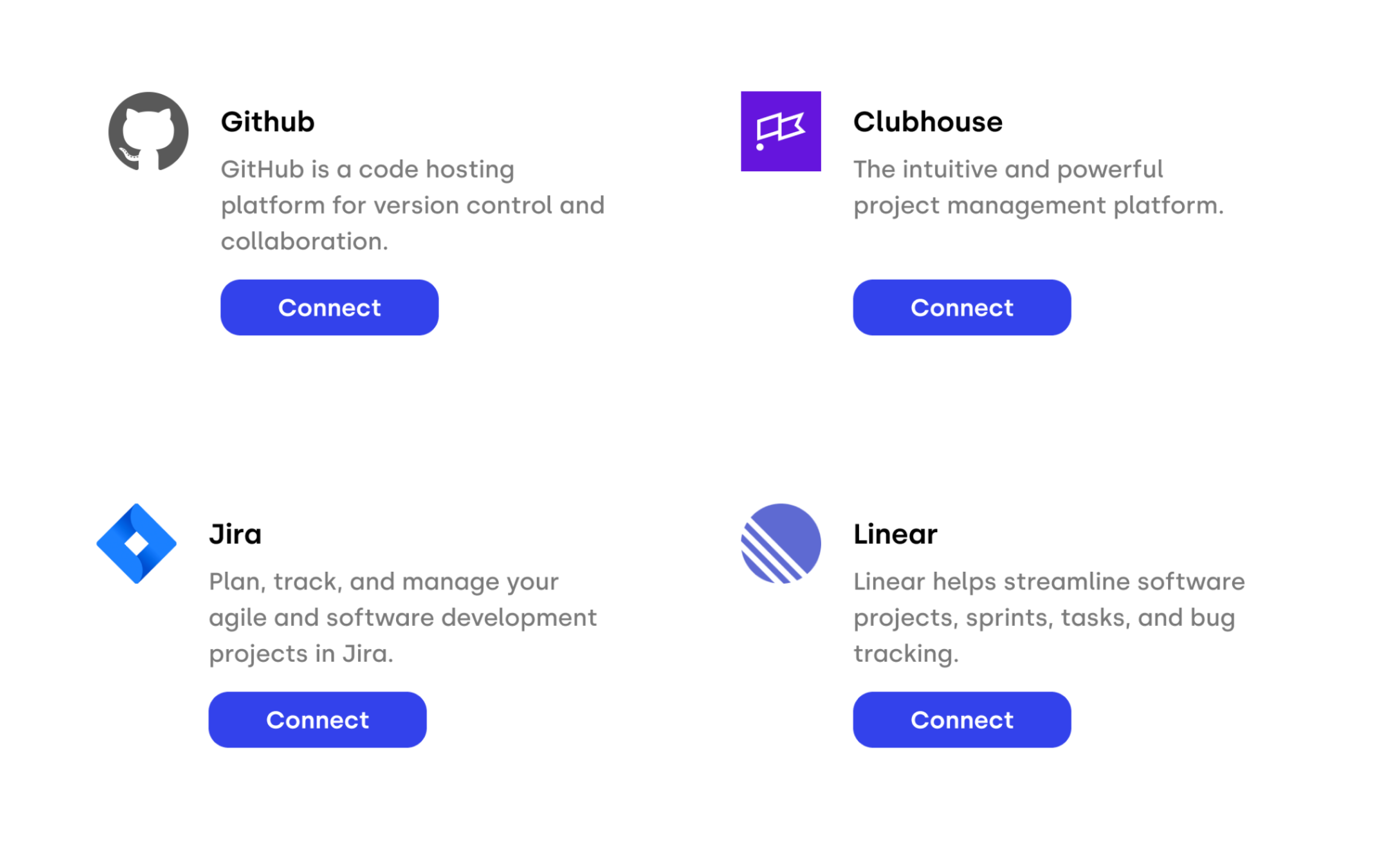 Screenshot of data source integrations, including GitHub, Jira, Linear, and Clubhouse