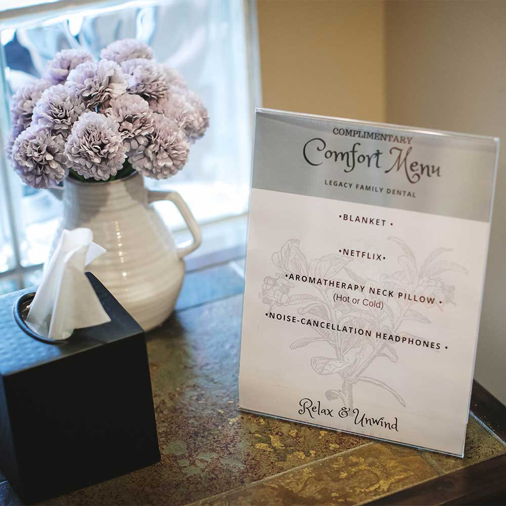 Photo of our complimentary Comfort Menu