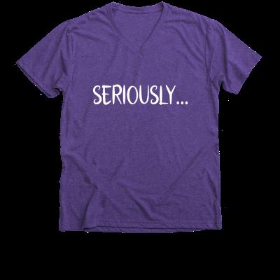 Seriously... Meredith Masony merch, a purple v-neck tee