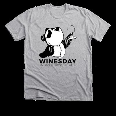 Winesday with Panda Pete Meredith Masony merch, a grey Tee