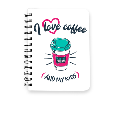 I love coffee... and my kids Meredith Masony merch, a white spiral notebook
