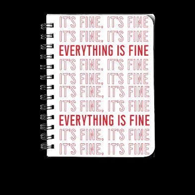 It's fine, It's fine... Meredith Masony merch, a White Spiral Notebook