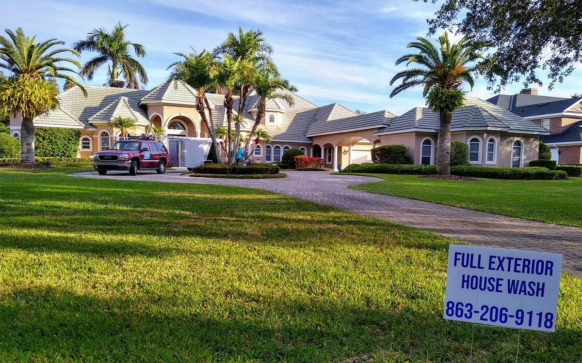 Exterior cleaning in progress in Haines City, FL