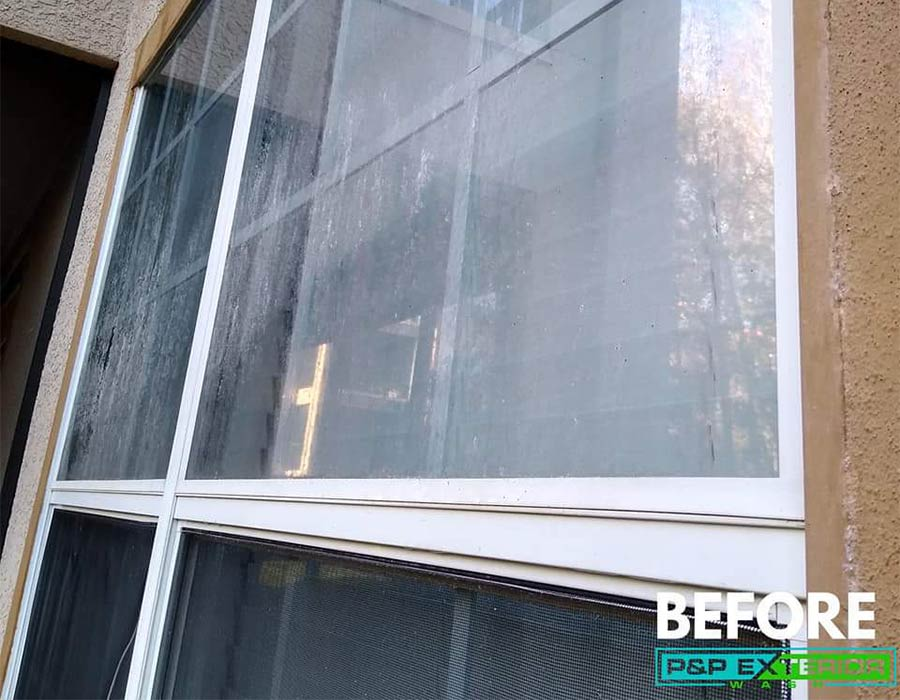 Windows before being cleaned in Haines City, FL